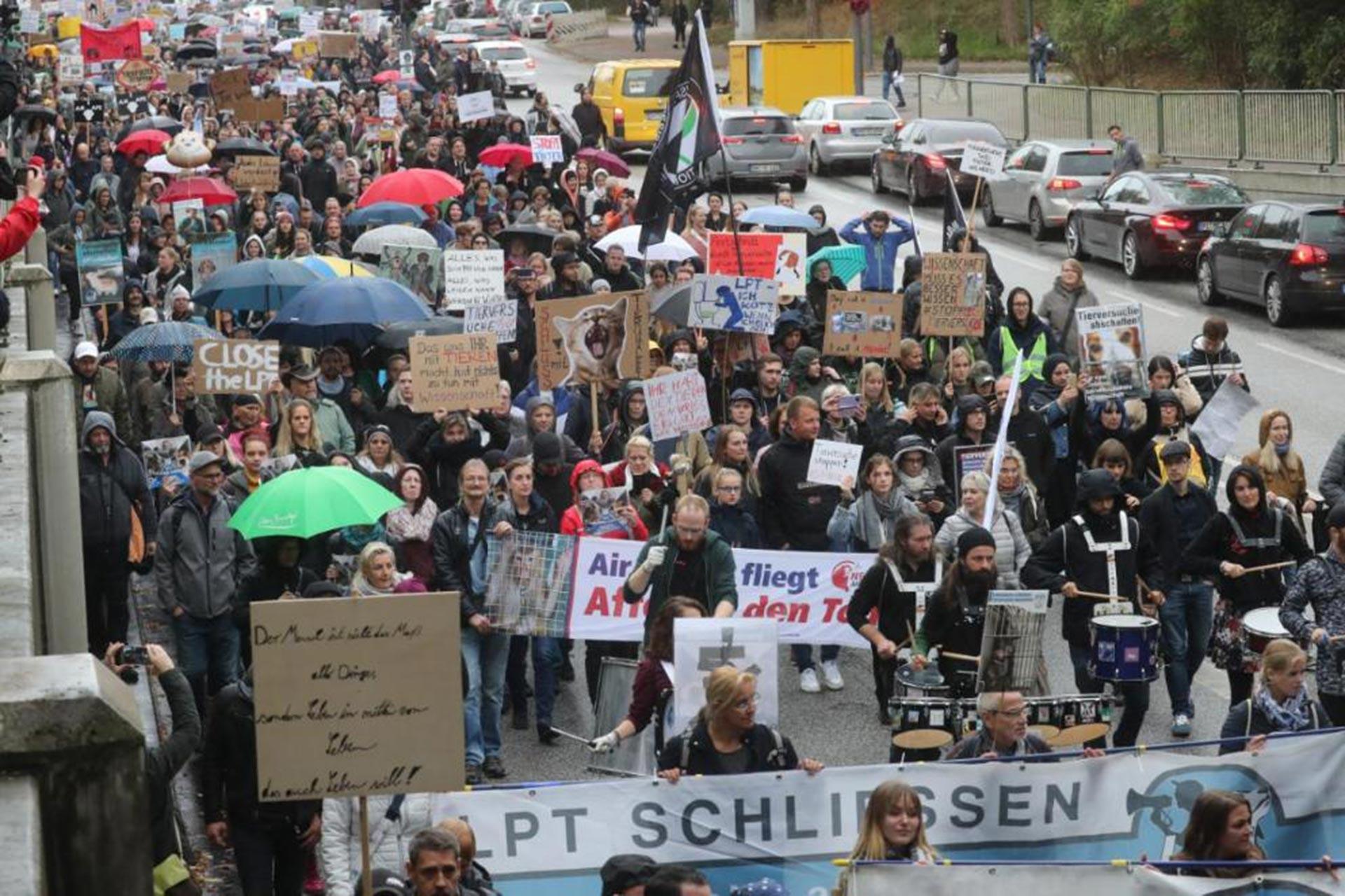 Hamburg'daki hayvan hakları mitingine katılanlar ellerinde taleplerinin yazılı olduğu dövizlerle yürürken