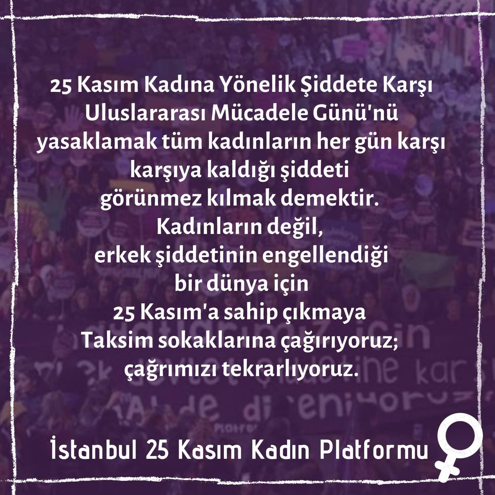 İstanbul 25 Kasım Kadın Platformu açıklama görseli.