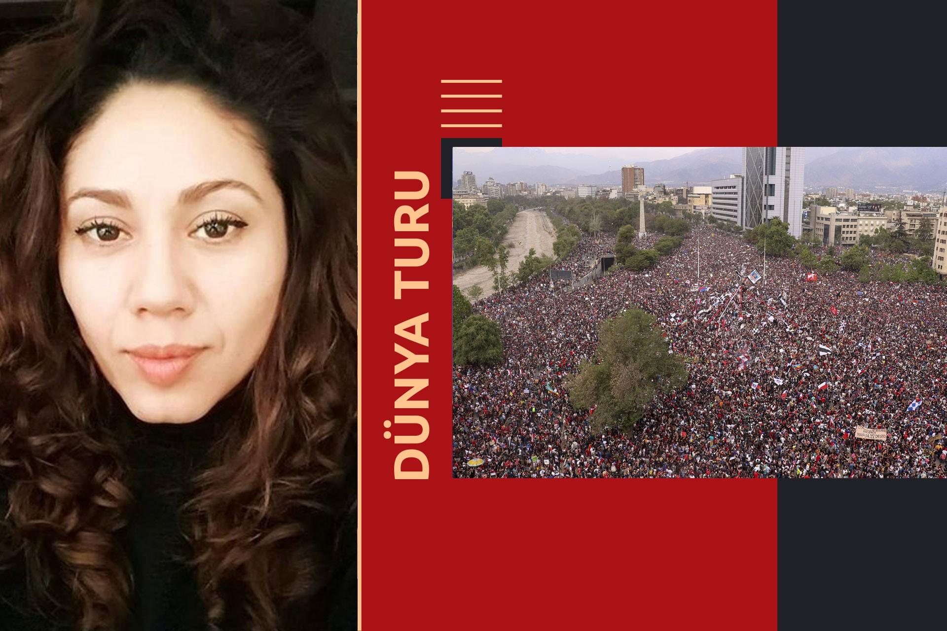 Öldürülen gazeteci Albertina Martínez Burgos (solda) ve Şili'deki eylemlerden bir kare.