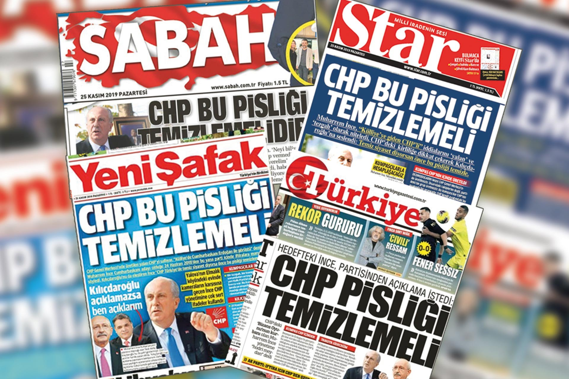 Sabah, Star, Yeni Şafak ve Türkiye gazetelerinin 25 Kasım 2019 tarihli nüshaları