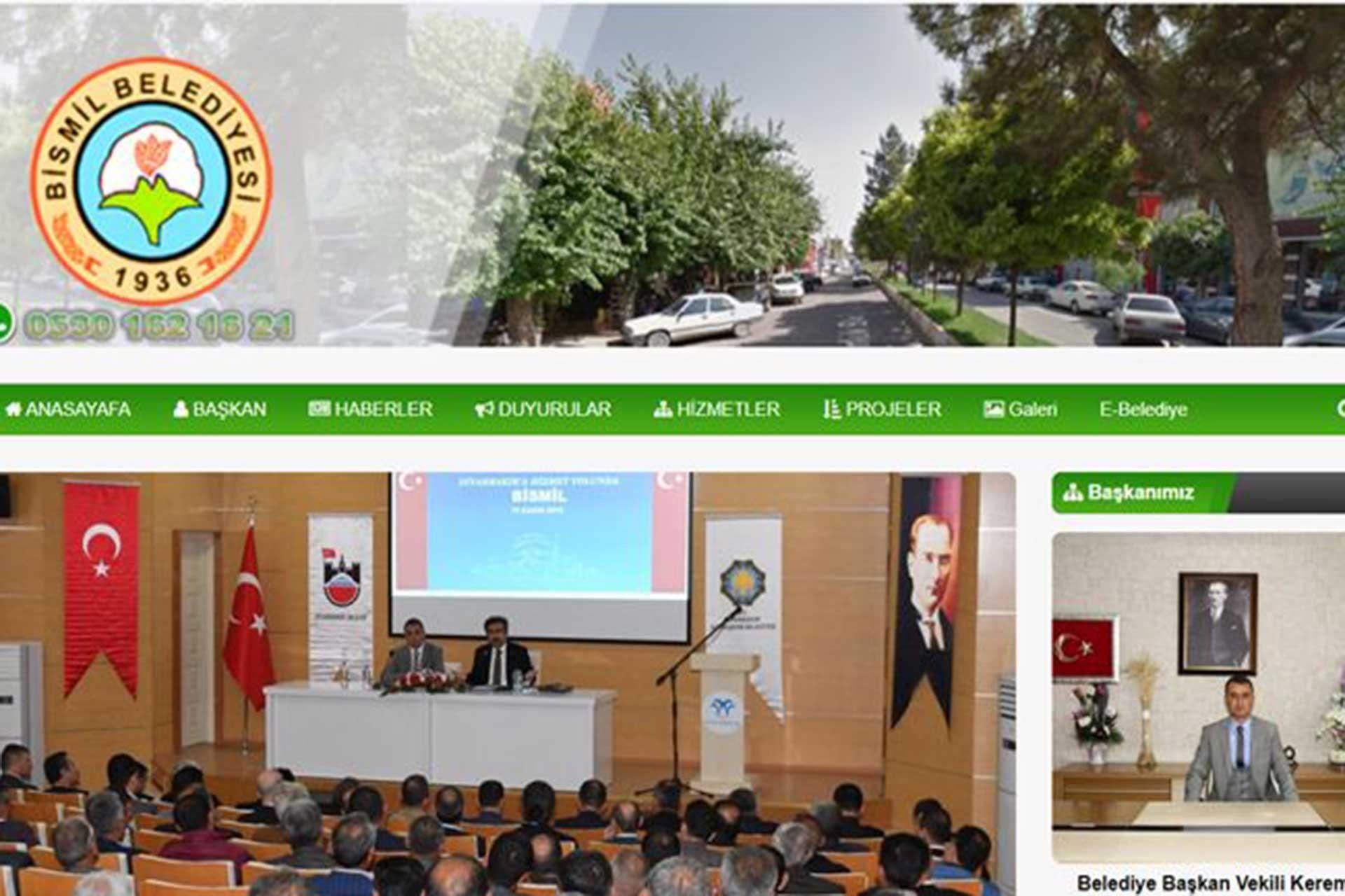 Bismil Belediyesinin web sitesi