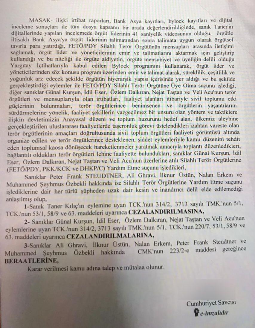 Büyükada davasının duruşmasında savcının sunduğu mütaala metni