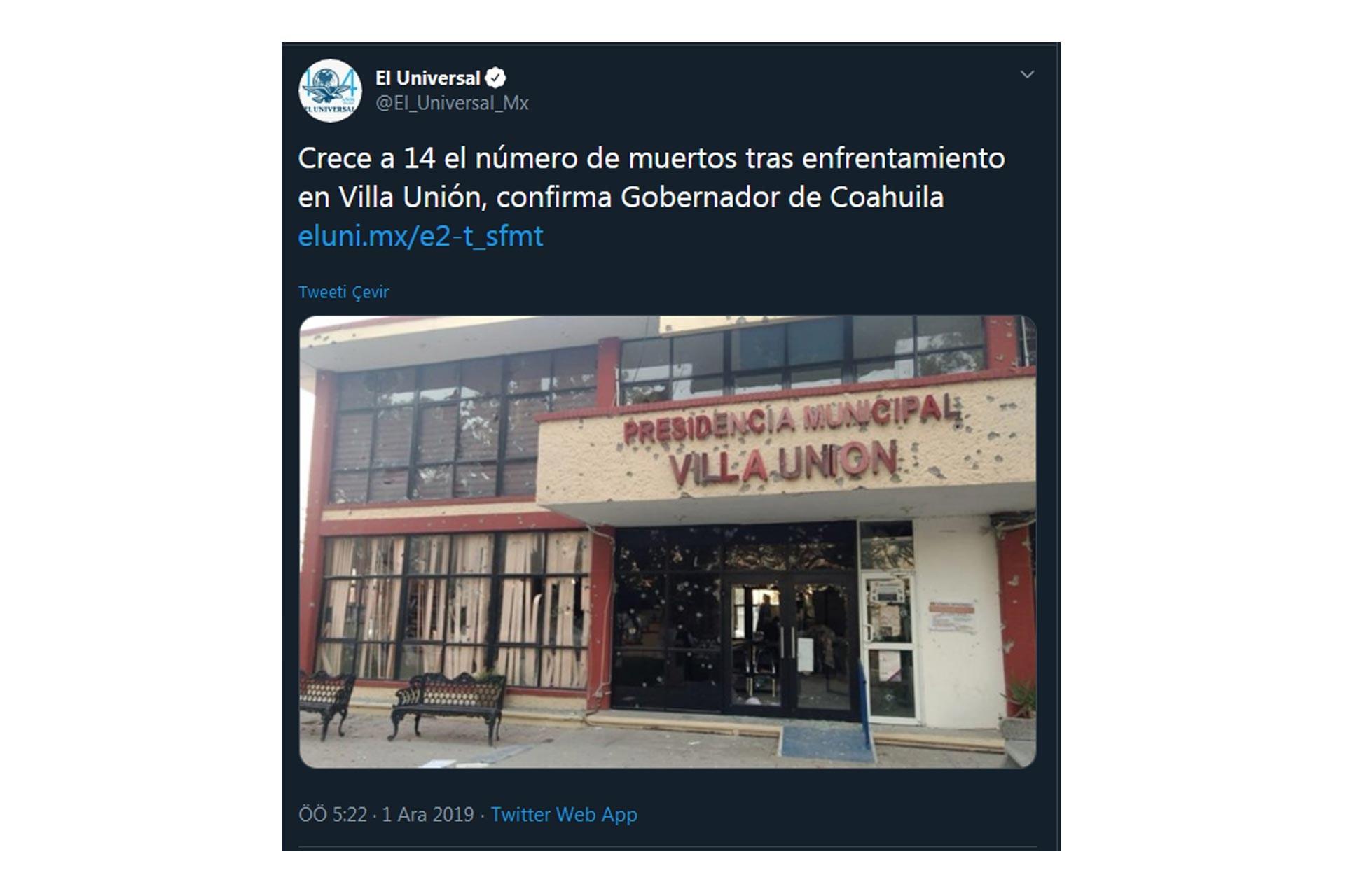 El Gran Diario de México'nun resmi Twitter hesabının gönderisi