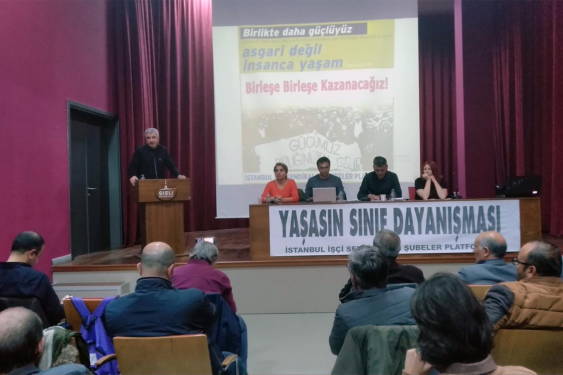 İstanbul İşçi Sendikaları Şubeler Platformu toplantısında konuşan Levent Dokuyucu