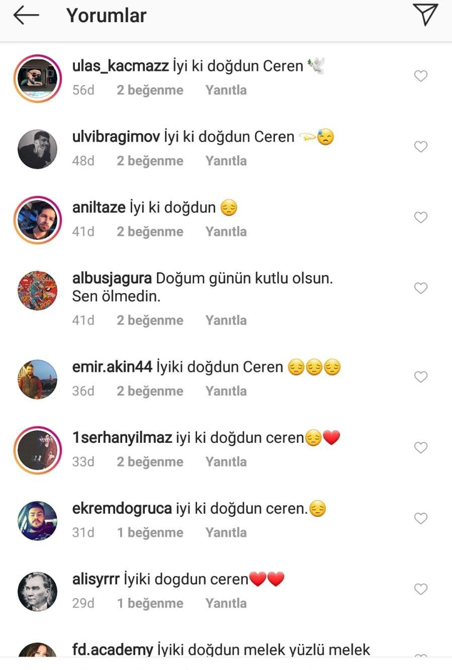 Instagram kullanıcılarının Ceren Özdemir'in fotoğraflarının altına yazdığı doğum günü mesajları
