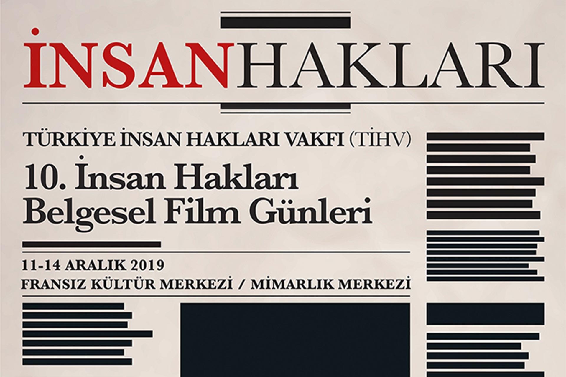 Gazete sayfası şeklinde tasarlanmış 10. İnsan Hakları Belgesel Film Günleri afişi
