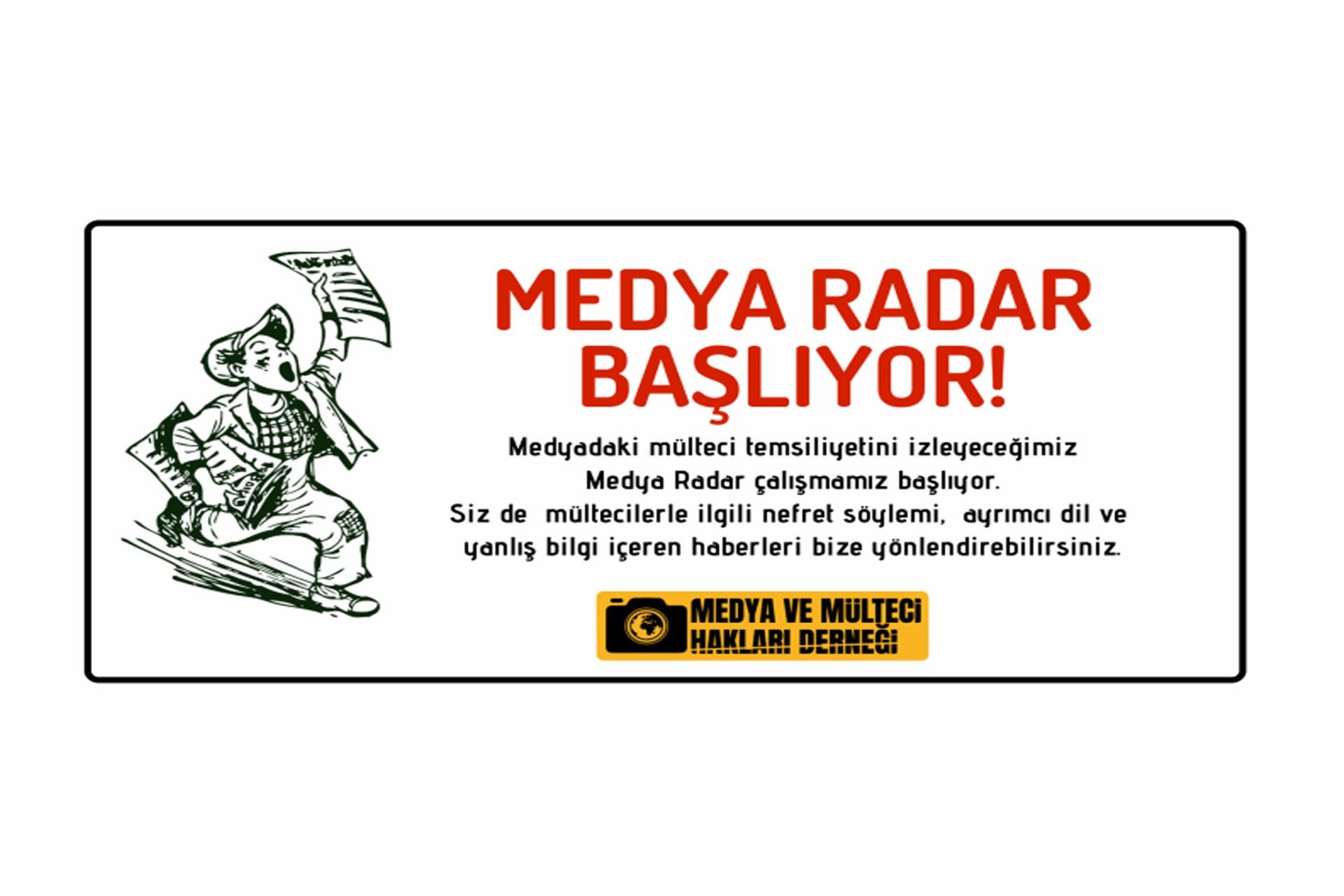 Medya ve Mülteci Hakları Derneğinin medya radar çalışmasına ait görsel