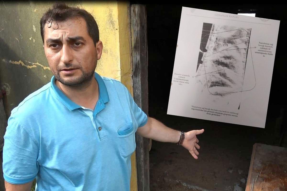 Şaban Vatan (solda) ve Ankara Kriminal Polis Laboratuvarı'nın okul giysisi ile pantolonda lastik izi tespit ettiğini gösteren belge