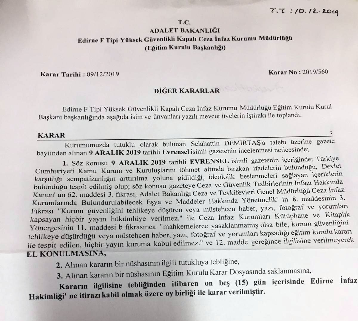 Edirne F Tipi Cezaevi tarafından 9 Aralık tarihli gazetemizin verilmemesine dair karar.