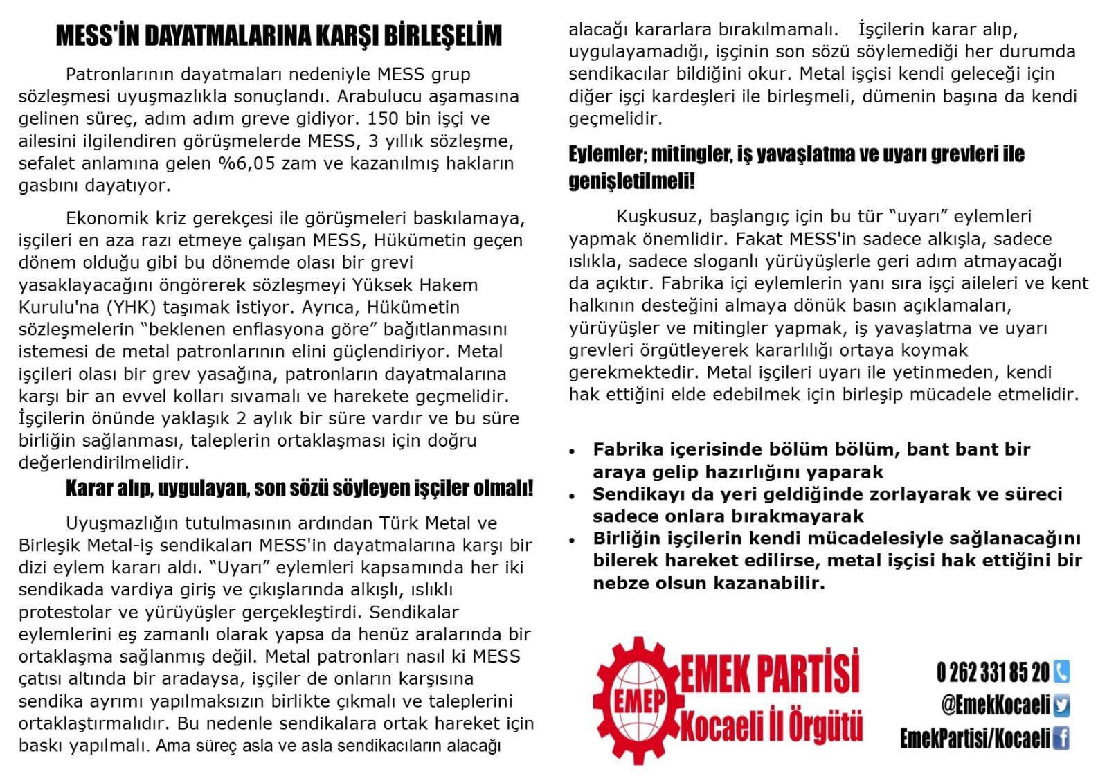 Türk Metal'in dağıtımını engellediği bildiri.