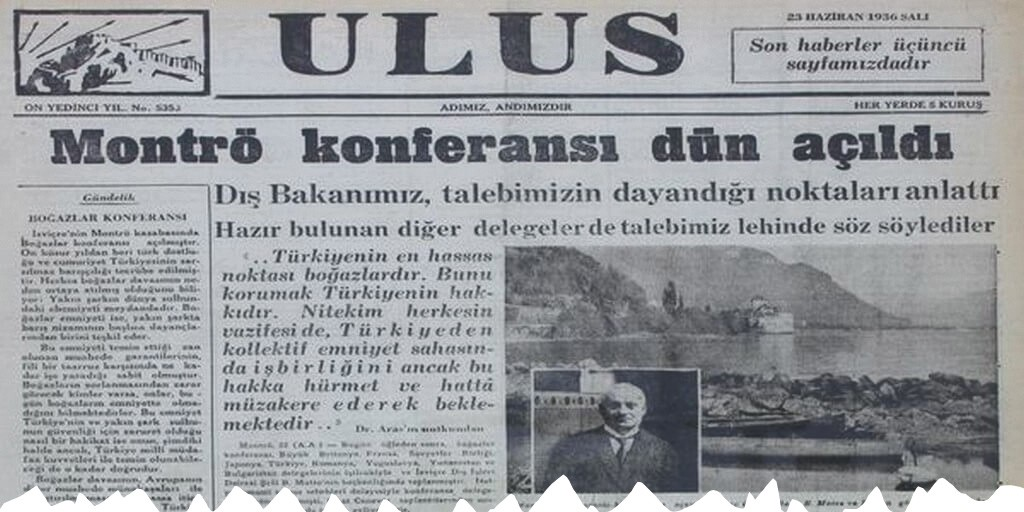 Ulus gazetesinin 23 Haziran 1936 yılına ait 1. sayfası