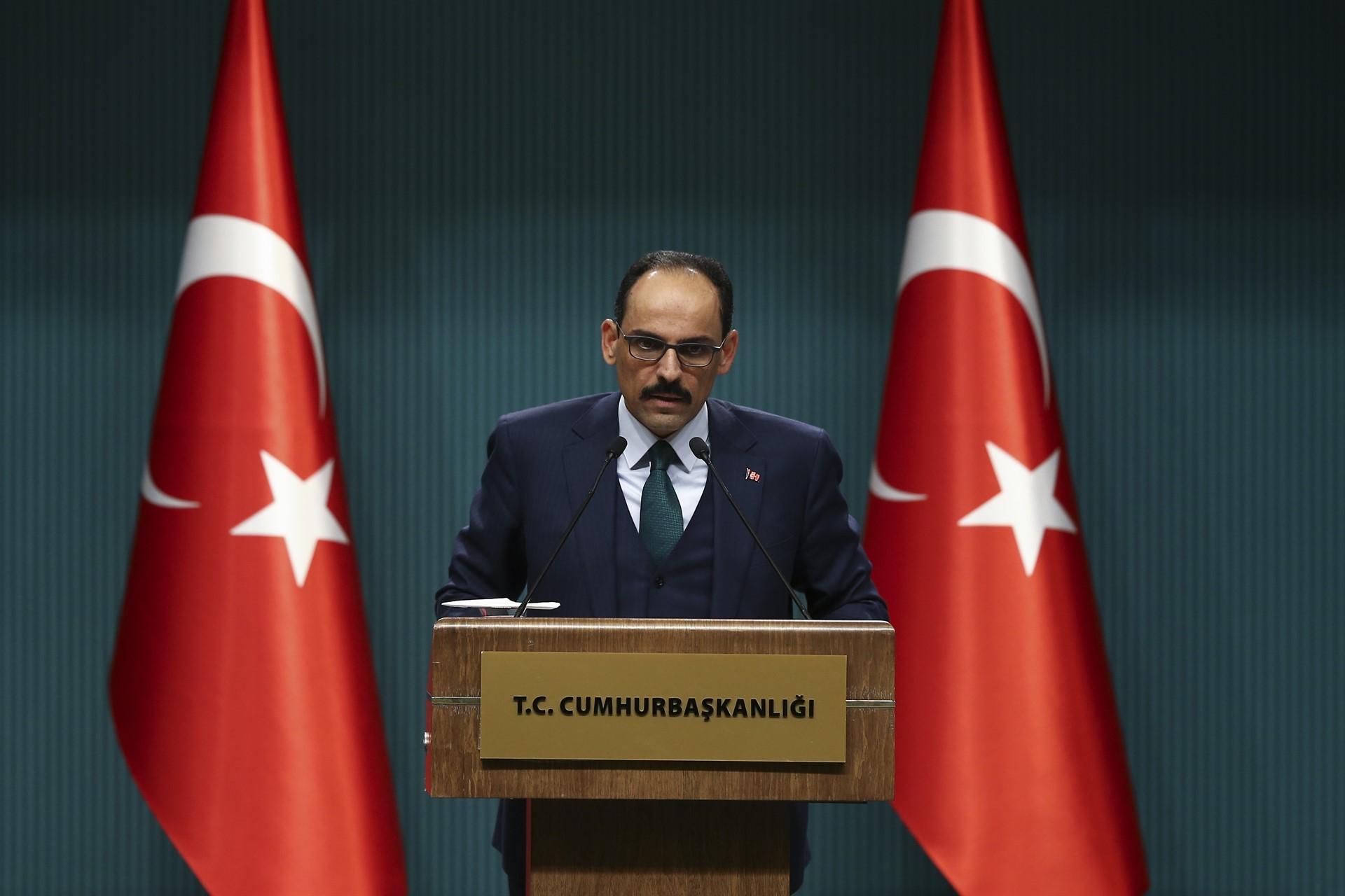 Cumhurbaşkanlığı Sözcüsü İbrahim Kalın basın toplantısı düzenliyor
