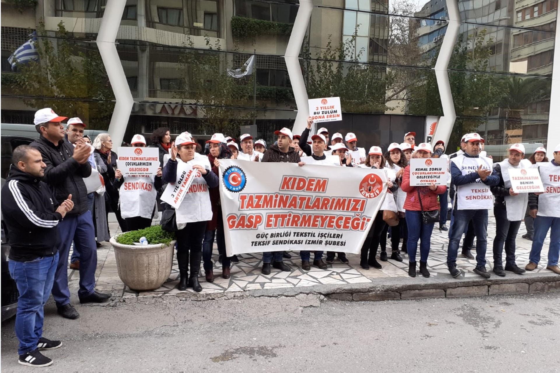 Teksif Sendikası üyesi Güçbirliği Tekstil işçileri eylem yaptı