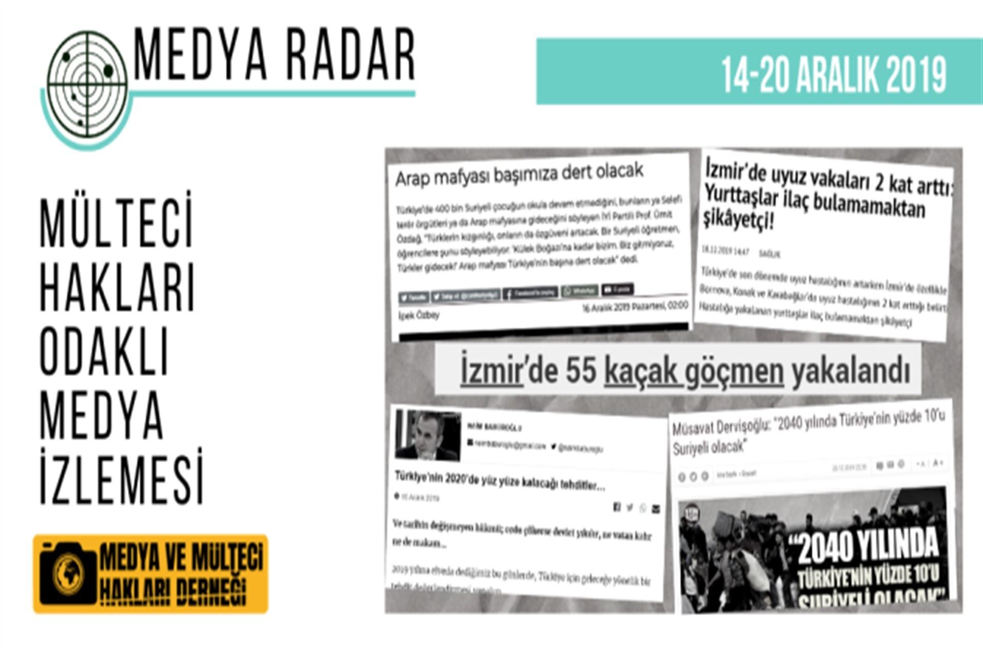 Mülteci Hakları Odaklı Medya İzlemesinin 14-20 Aralık raporu
