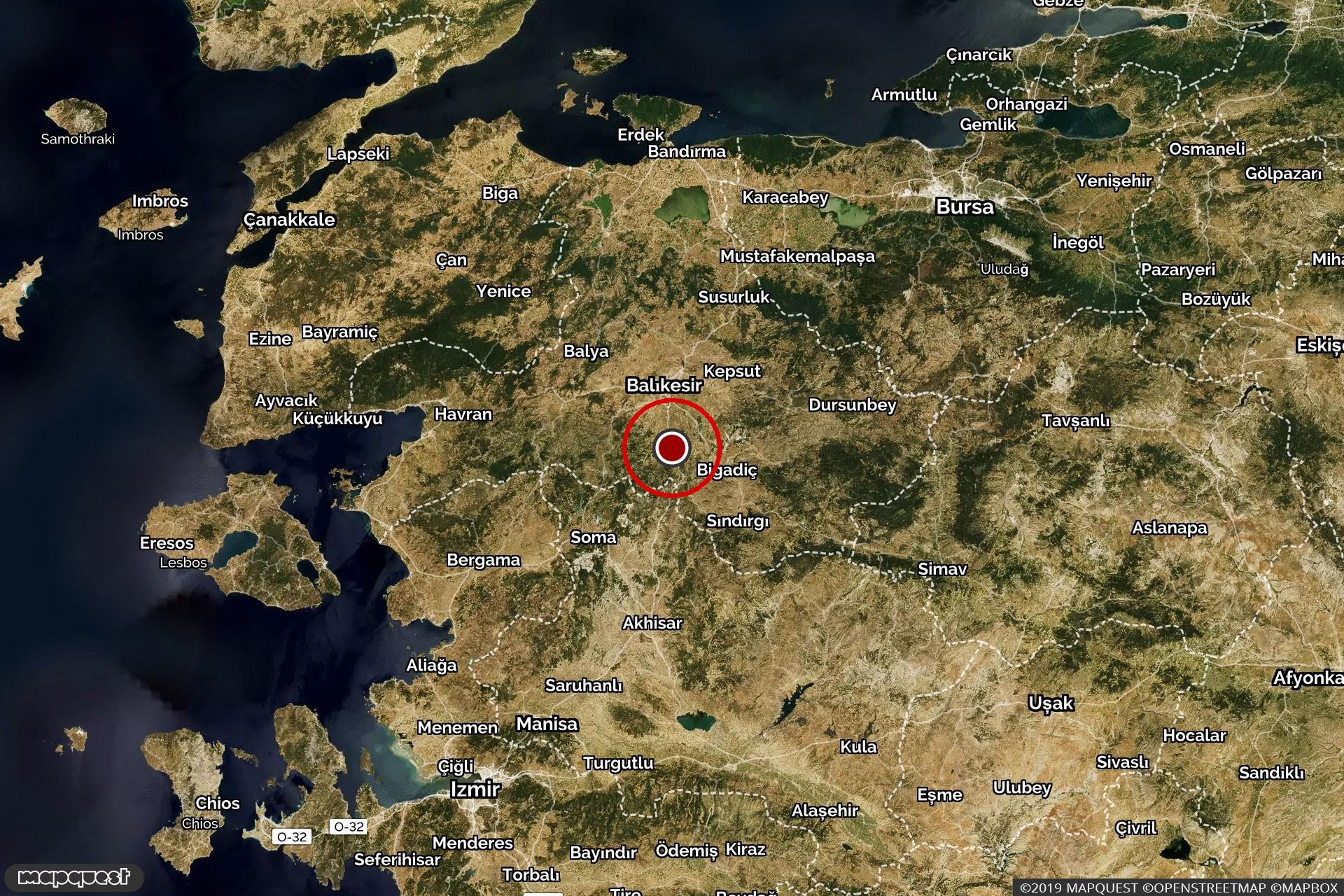 Depremin yaşandığı Altıeylül noktasını gösteren harita.
