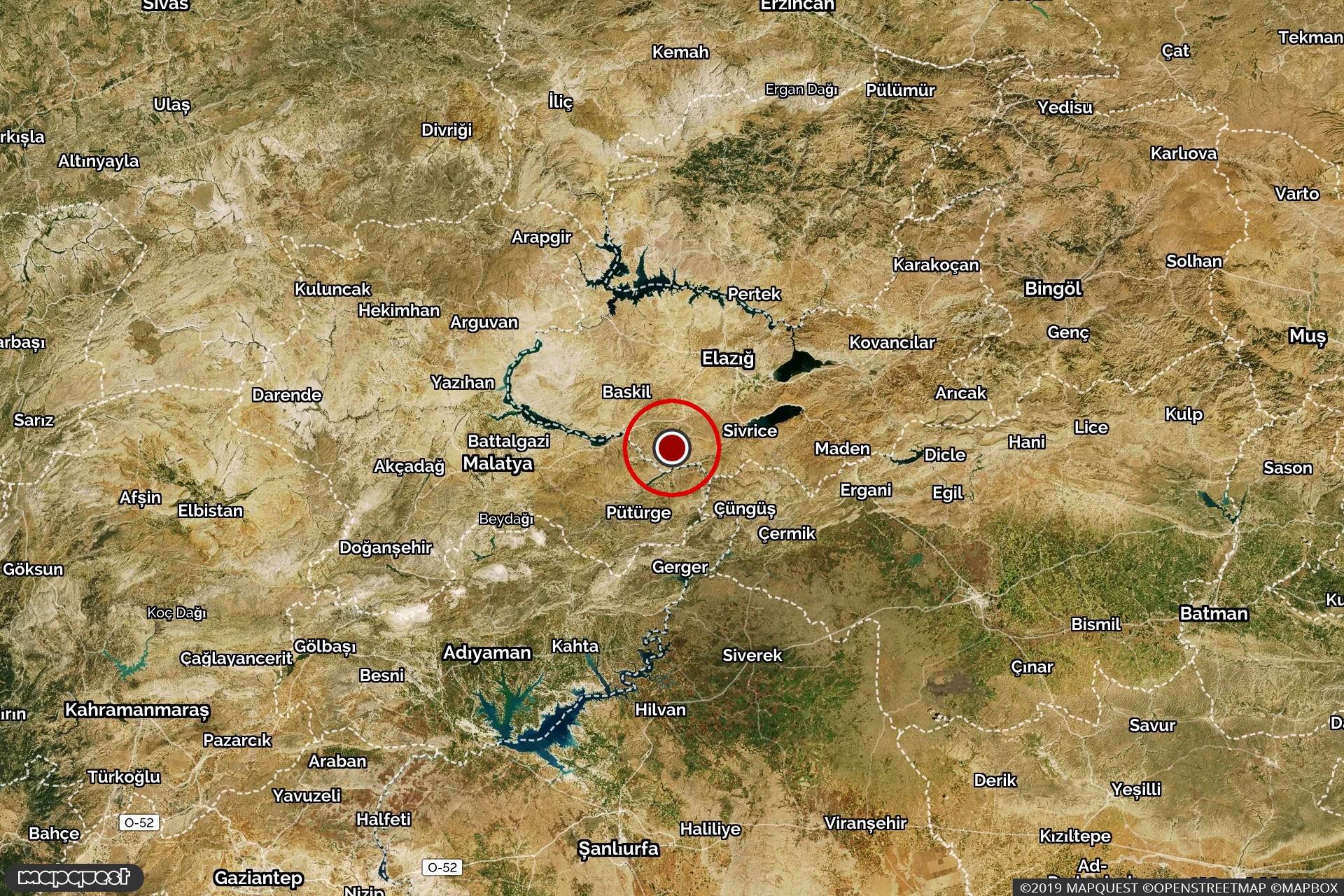 Elazığ'da meydana gelen depremin merkez üssünü gösteren harita.