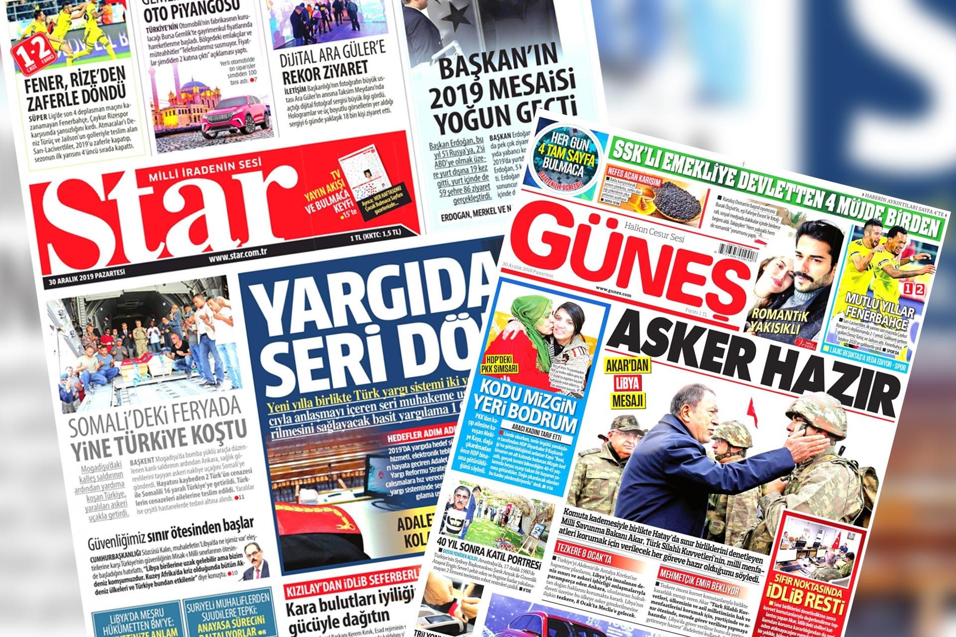Star ve Güneş gazetelerinin 30 Aralık 2019 tarihli ilk sayfaları