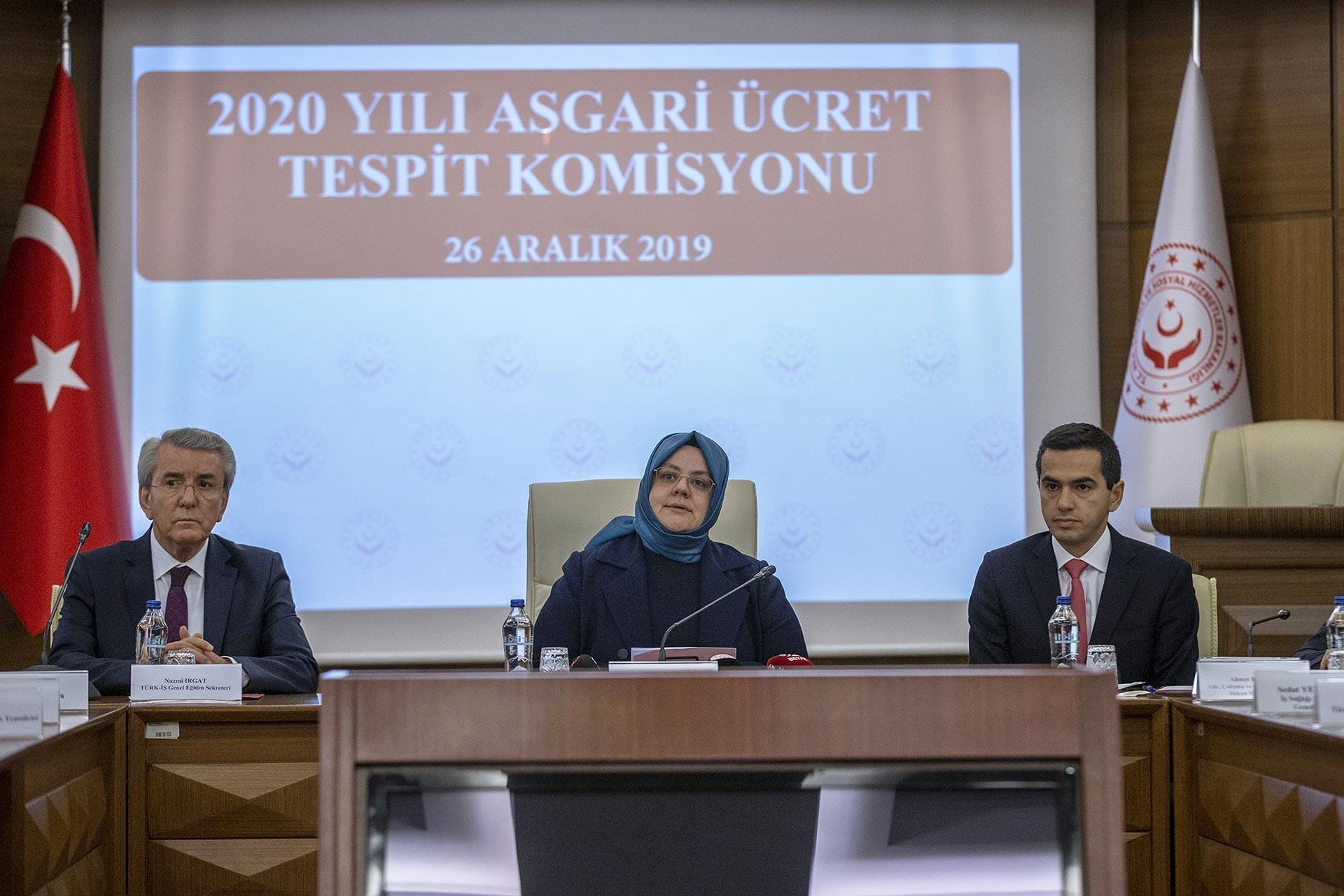 Asgari Ücret Tespit Komisyonunun 2020 yılı asgari ücretini açıklamak için gerçekleştirdiği toplantı