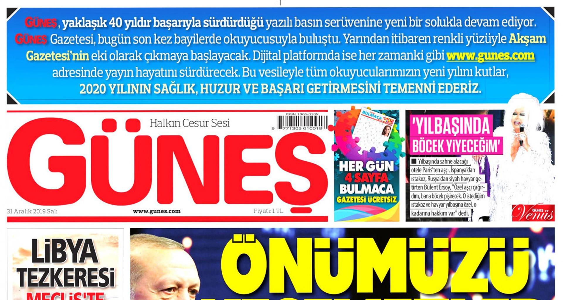 Güneş gazetesinin son sayısının sürmanşeti