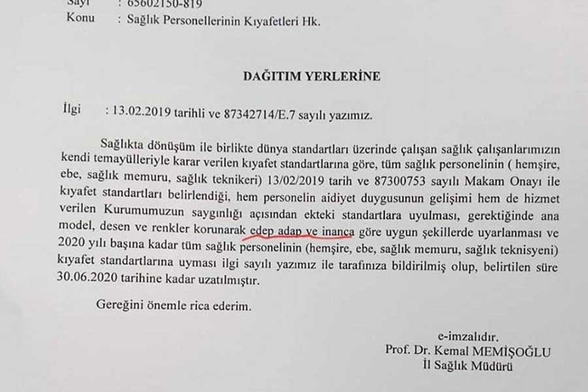Sağlık Müdürlüğünce kurumlara gönderilen kıyafet yazısı