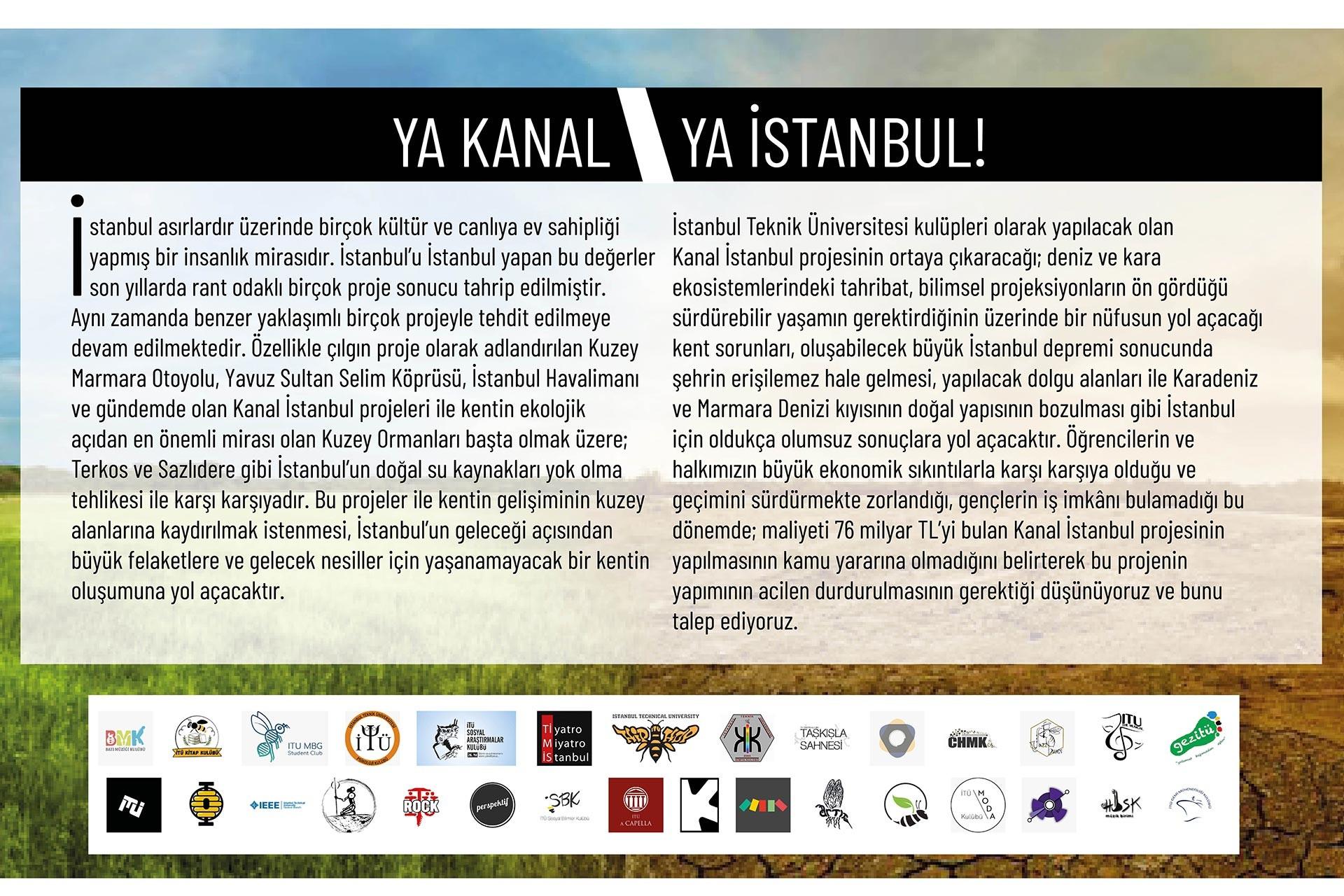 İTÜ öğrencilerinin 'Ya kanal ya İstanbul!' başlıklı bildirisi
