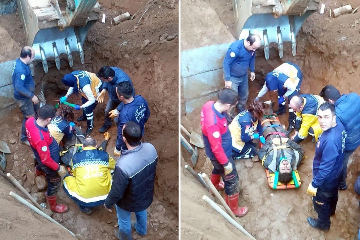 Toprak altına kalan işçinin yürütülen çalışma ile kurtarılmasına ilişkin iki fotoğraf.