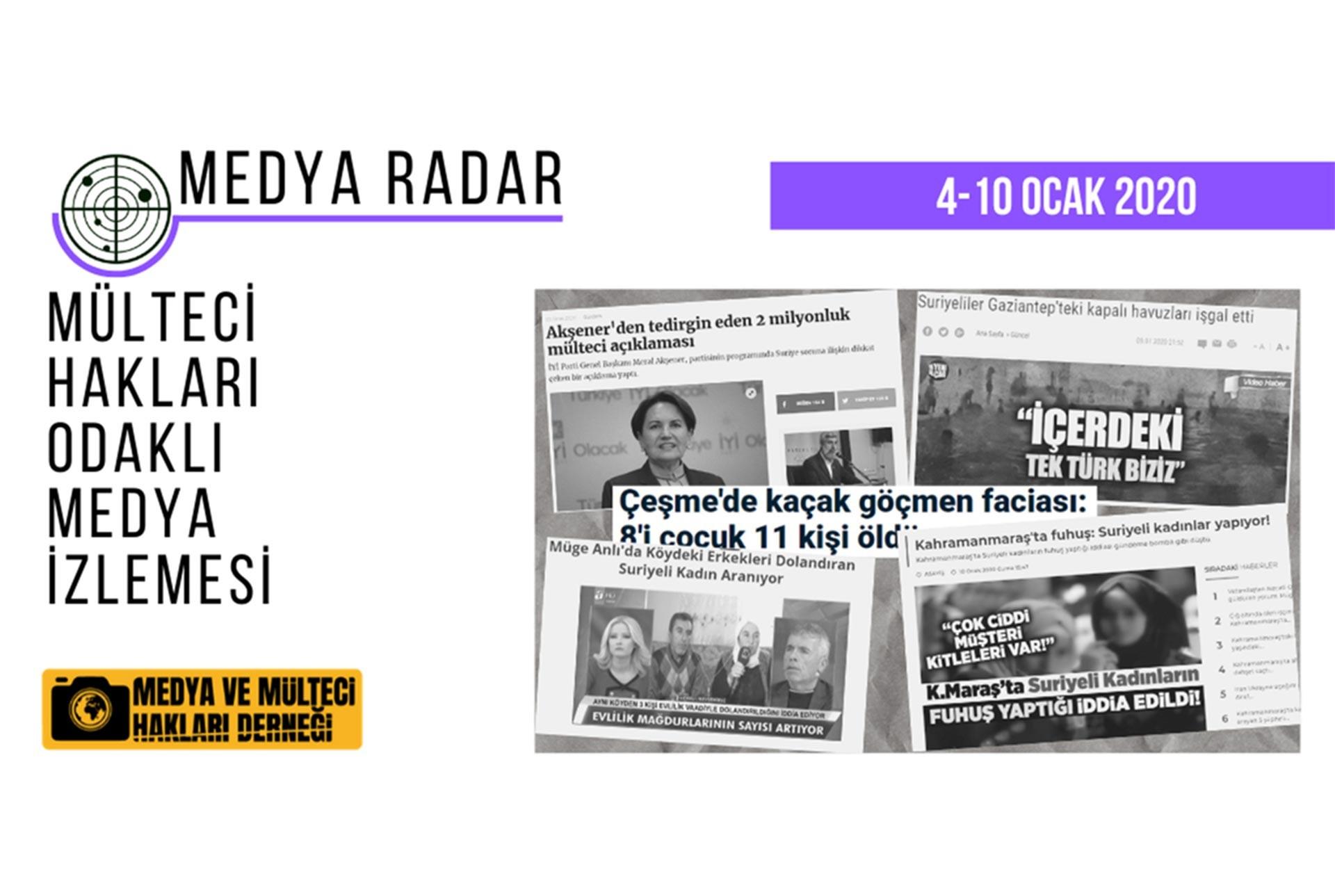 Haftalık mülteci hakları odaklı medya izlemesi çalışması Medya Radar'ın 4-10 Ocak haftası panoraması yayımlandı