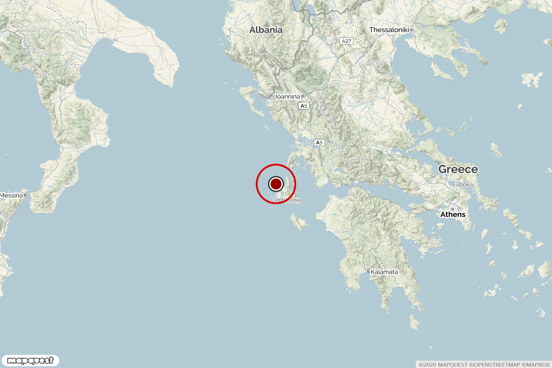 Iyon Denizi'nde depremin olduğu yeri gösteren harita