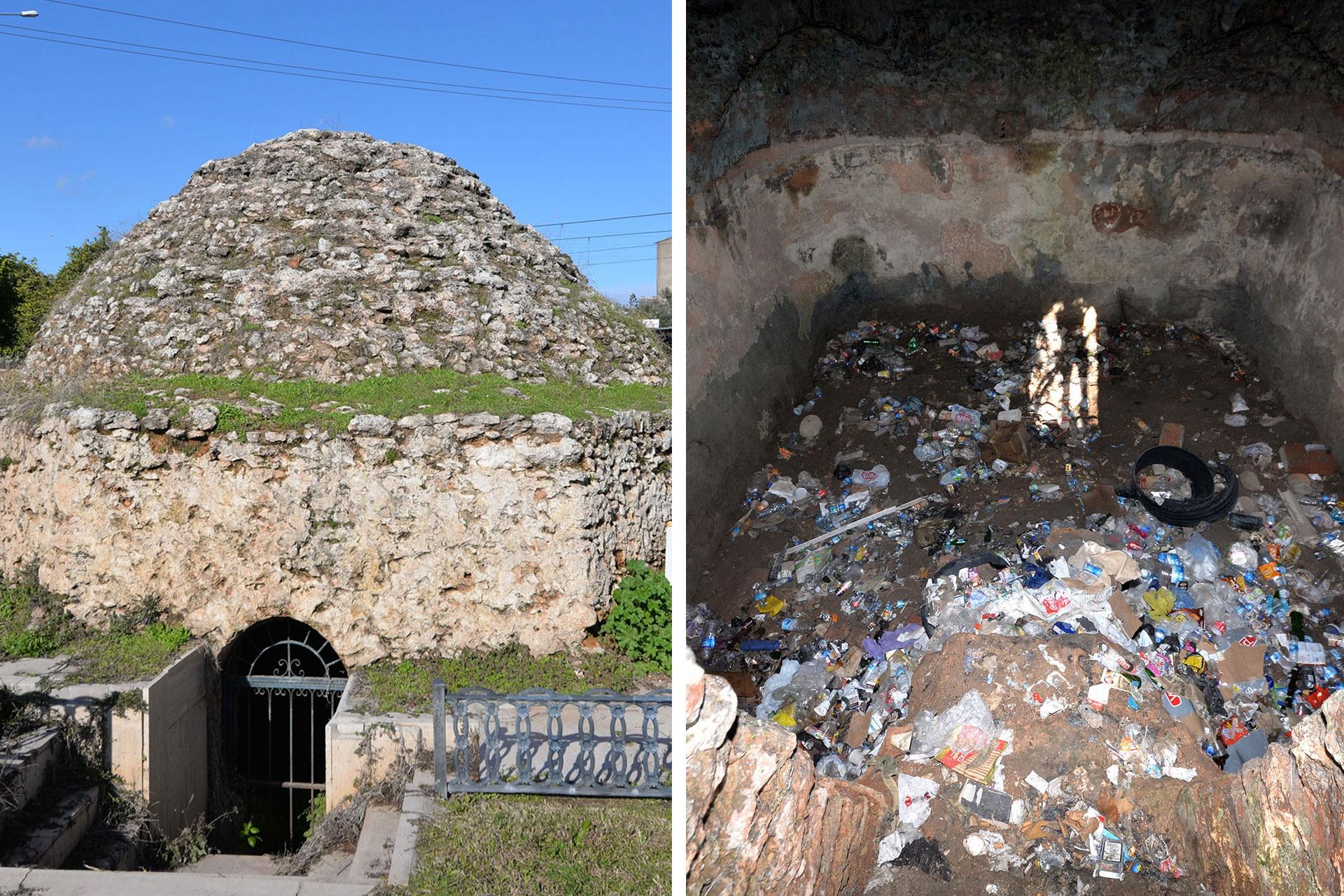 Girişi demir kapıyla kapatılan Zeytinli Sarnıcı (solda) ve içi çöplüğe dönen Kahveler Sarnıcı (sağda)