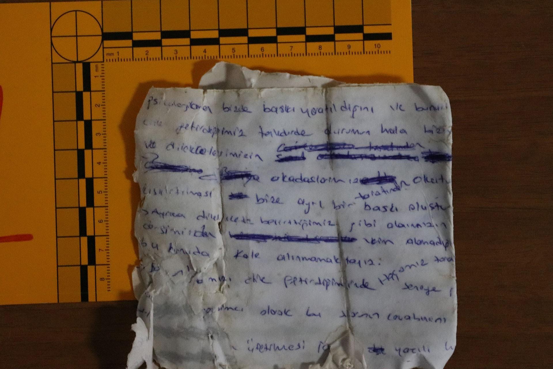 Arama çalışmalarında sudan çıkan ve Gülistan'a ait olduğu düşünülen bir not.