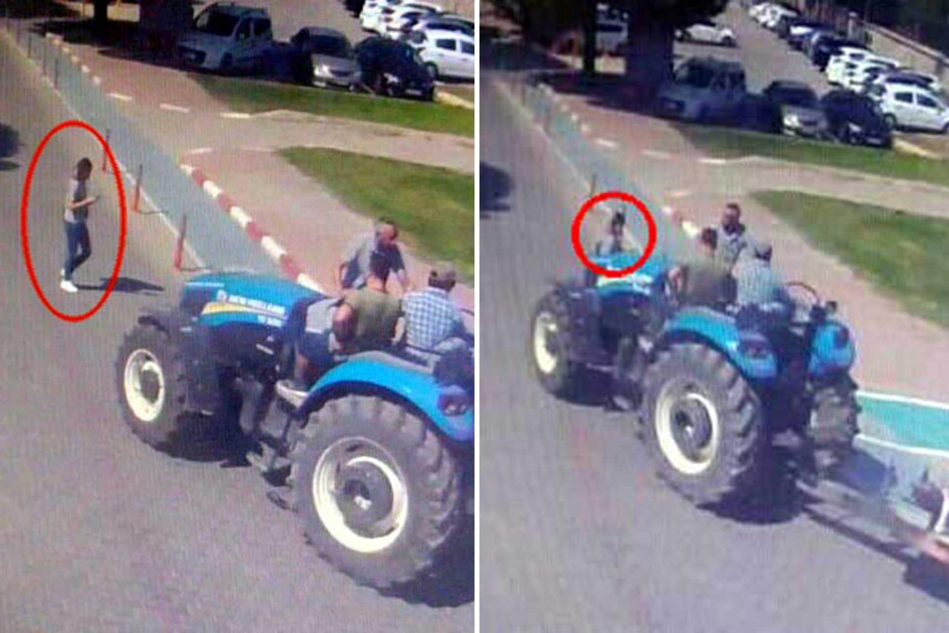 Sezen Zambak'a traktörün çarptığı an