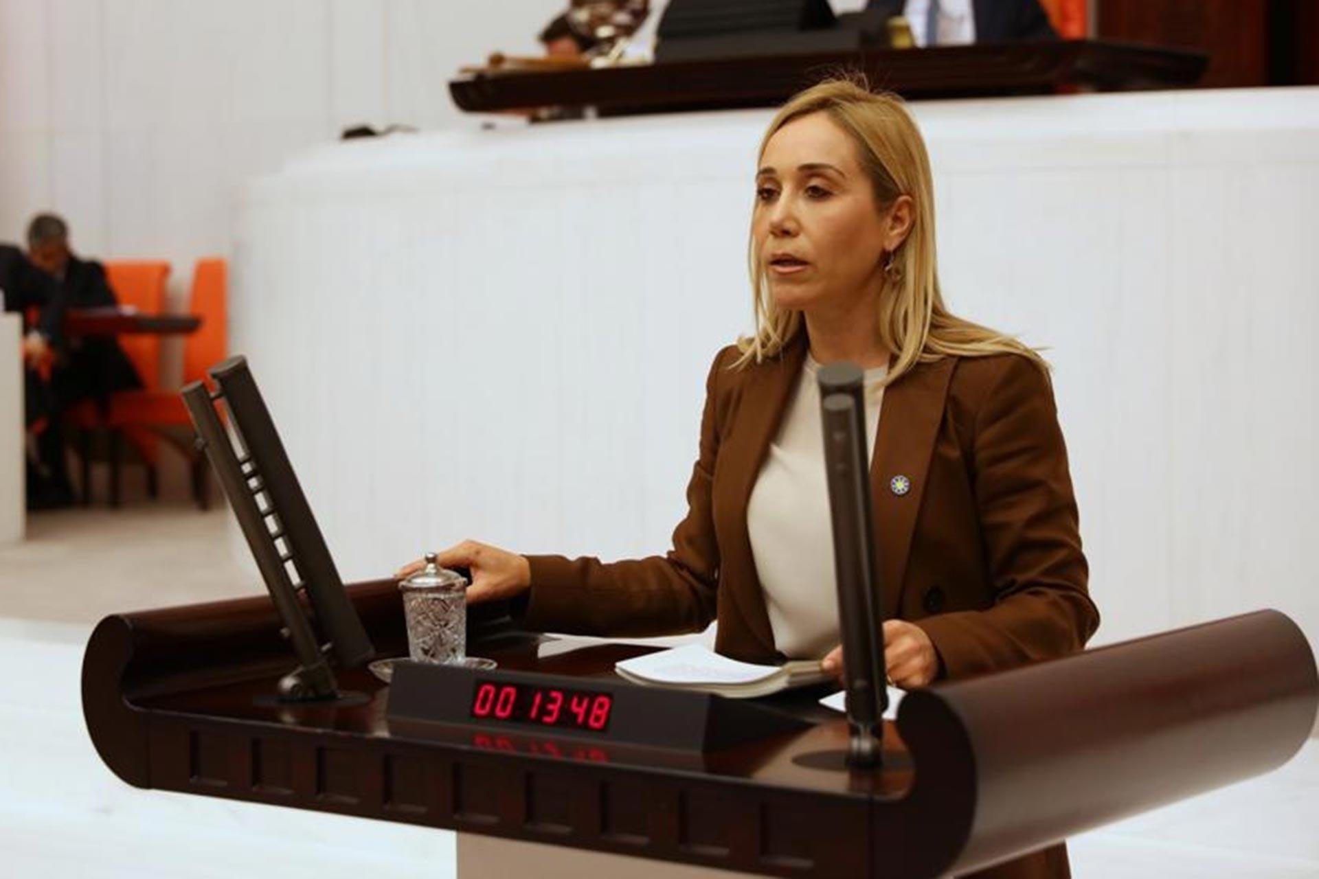 İYİ Parti Milletvekili Dr. Tuba Vural Çokal Meclis kürsüsünde konuşurken