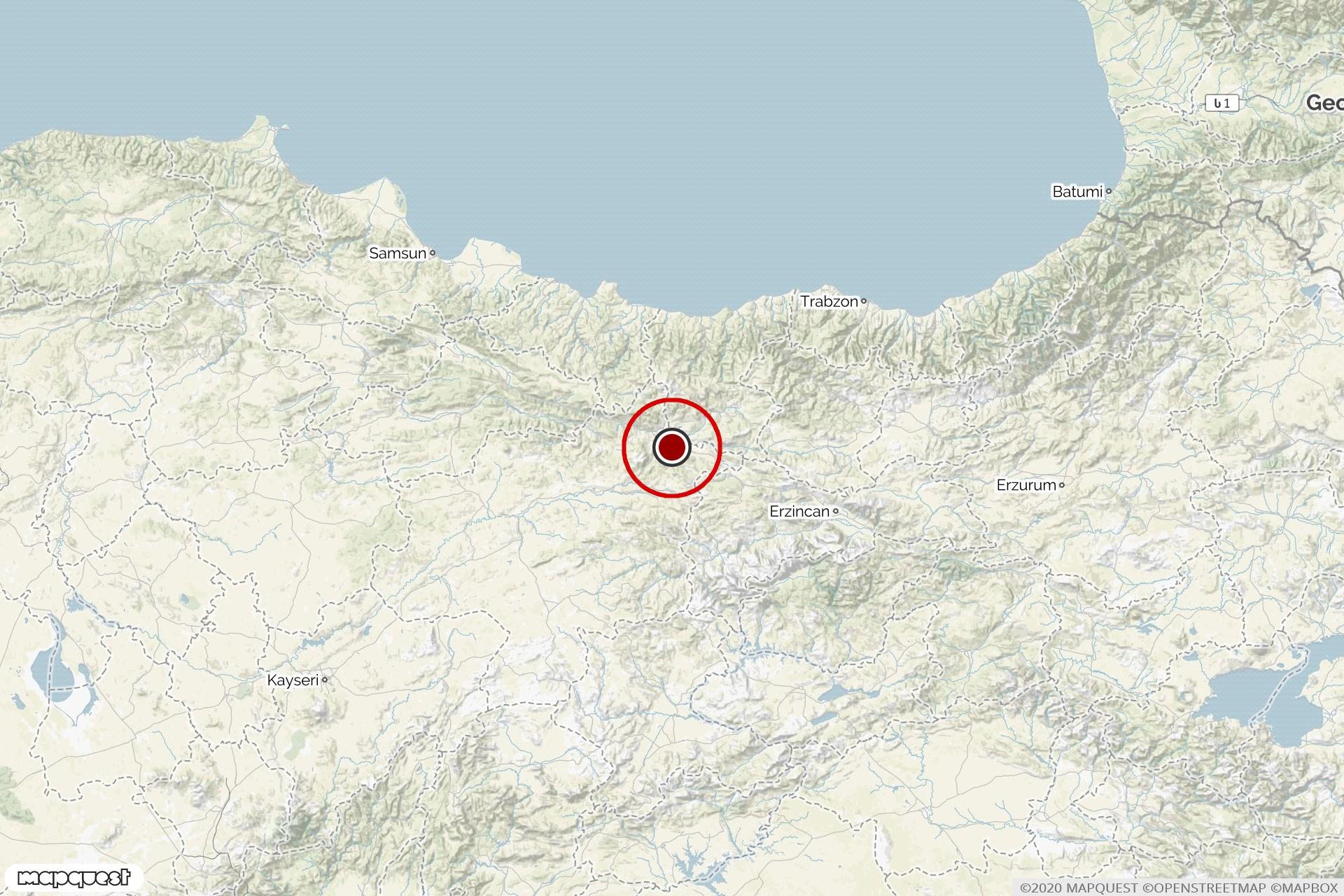 Sivas'ta meydana gelen depremin merkez üssü