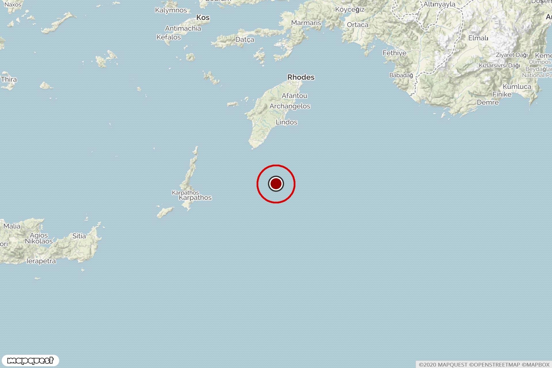 Akdeniz'de Rodos açıklarında meydana gelen depremin merkezini ve çevresini gösteren harita