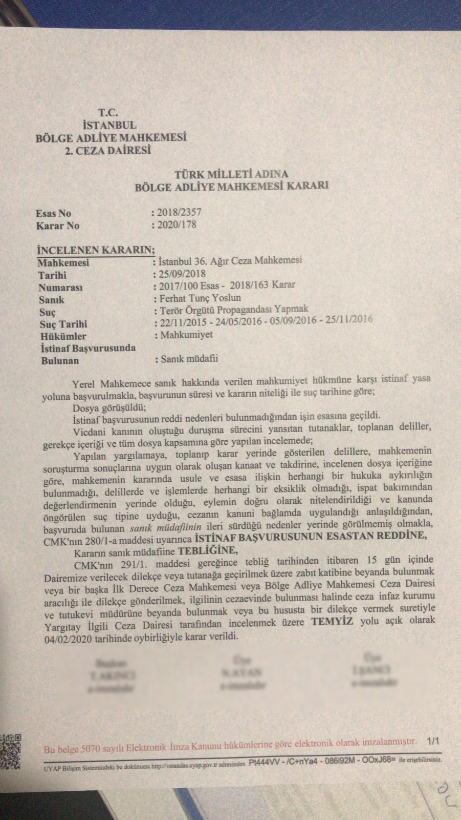 Ferhat Tunç hakkında verilen mahkeme kararı