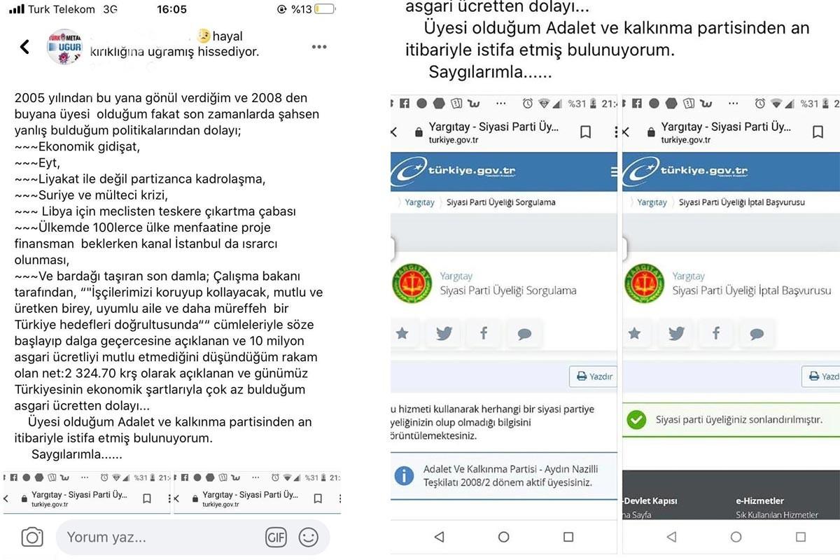 İşçinin AKP'den istifasını gösteren ekran görüntüleri ve sosyal medya paylaşımı