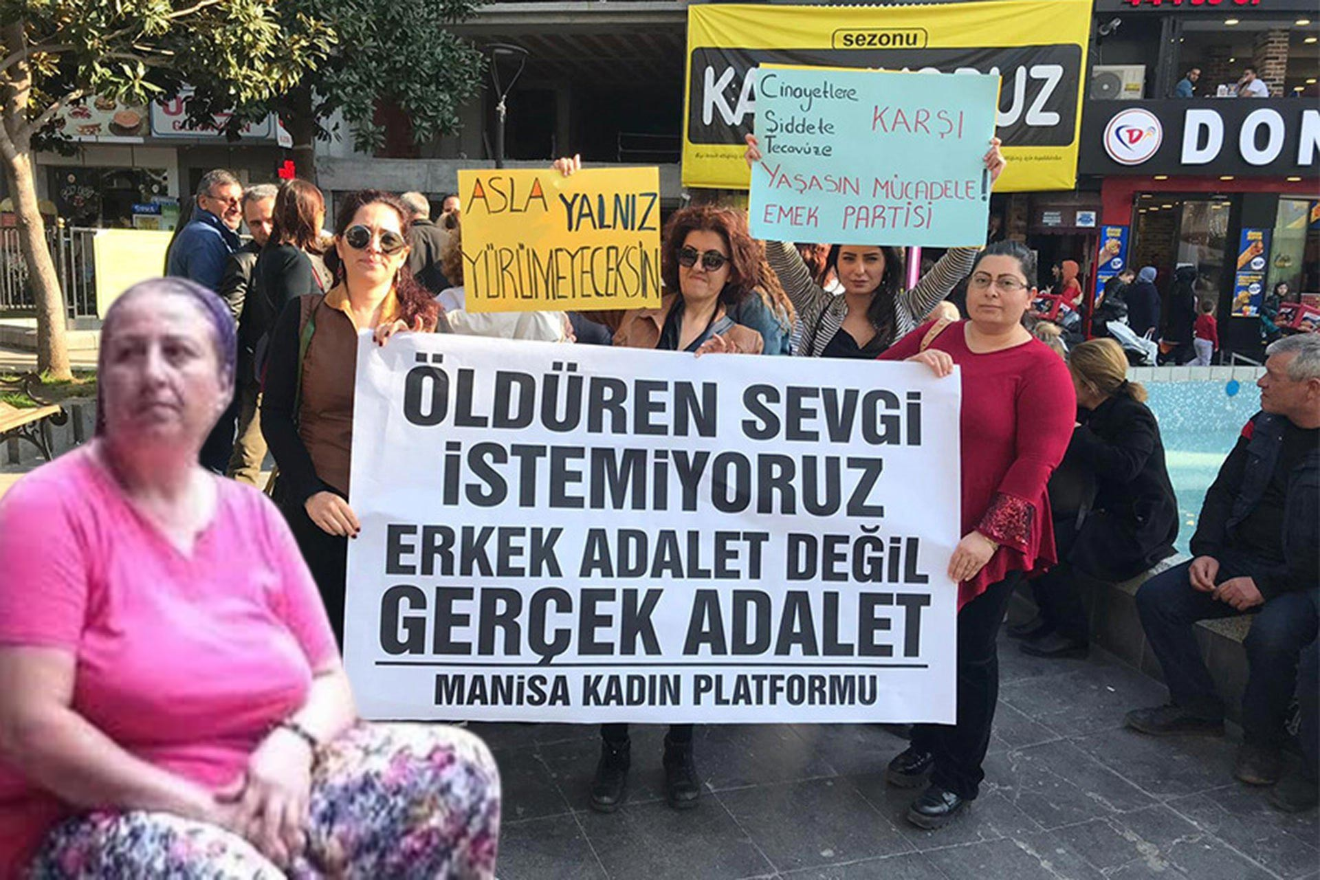 Katledilen Nergis Yavaş ve kadın cinayetleri protestosundan bir pankart