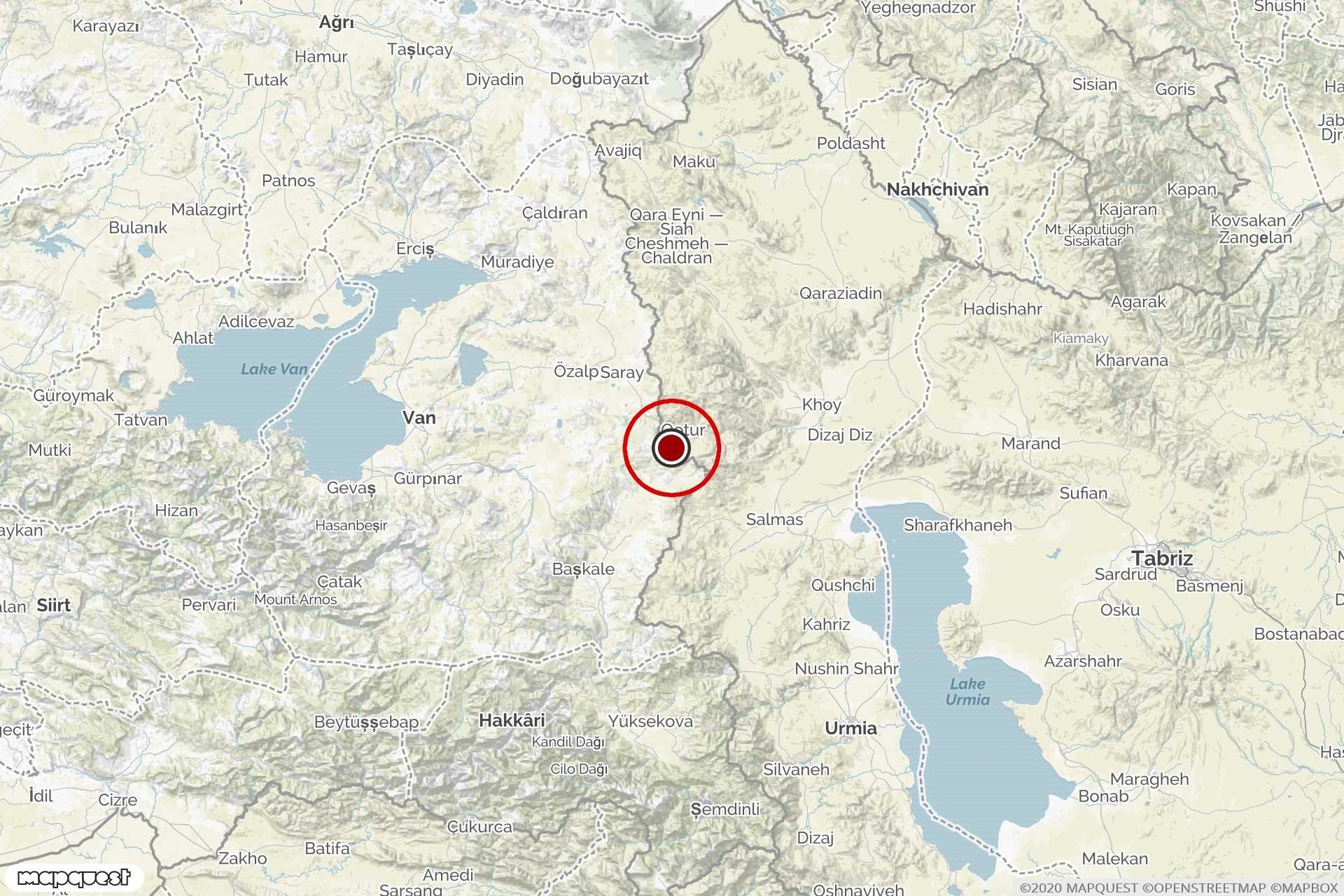 Van'da 16 Şubat'ta meydana gelen 4.6 büyüklüğündeki depremin merkezi