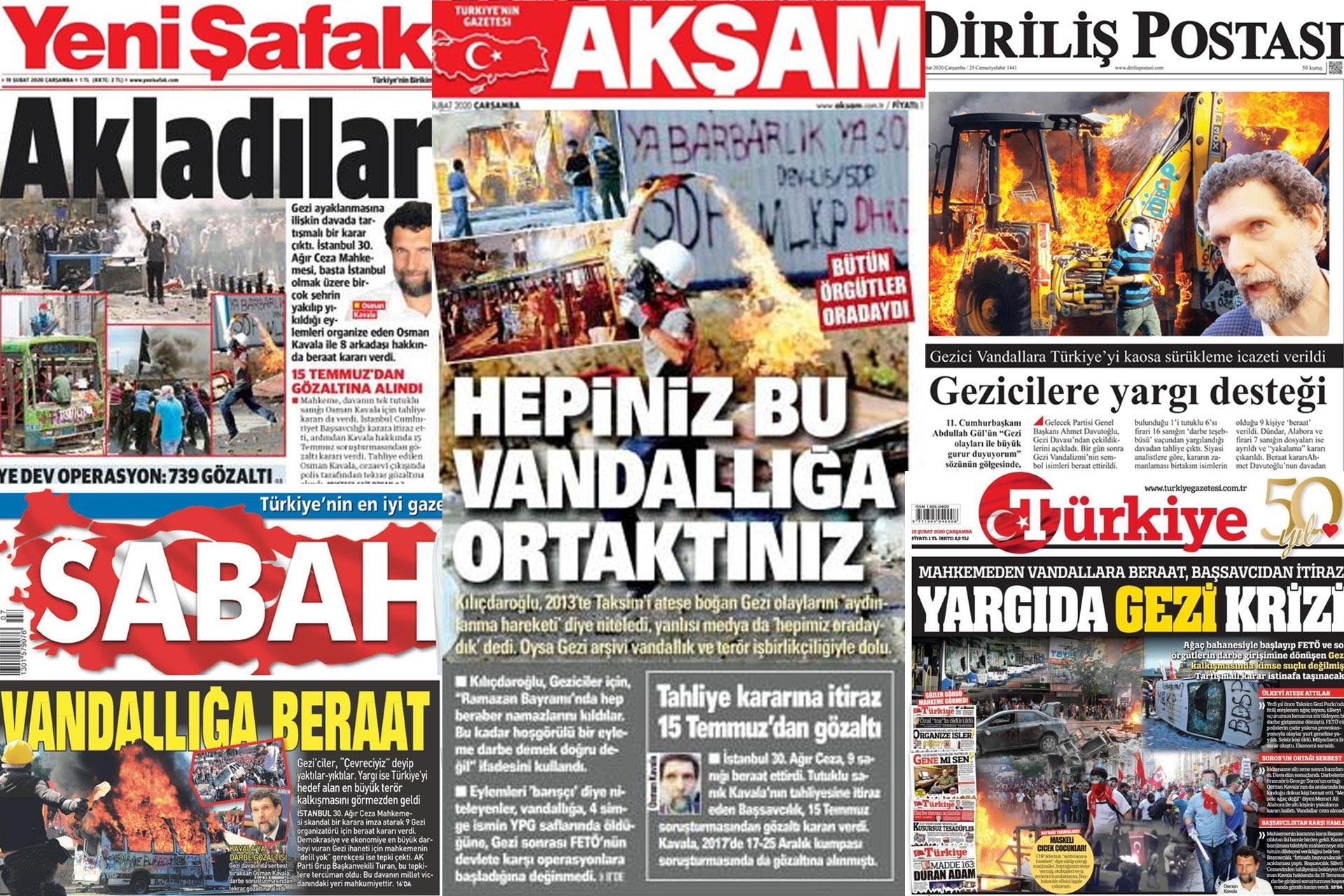 Yeni Şafak, Akşam, Diriliş Postası, Sabah ve Türkyie gazetelerinin 19 Şubat 2020 tarihli birinci sayfaları.