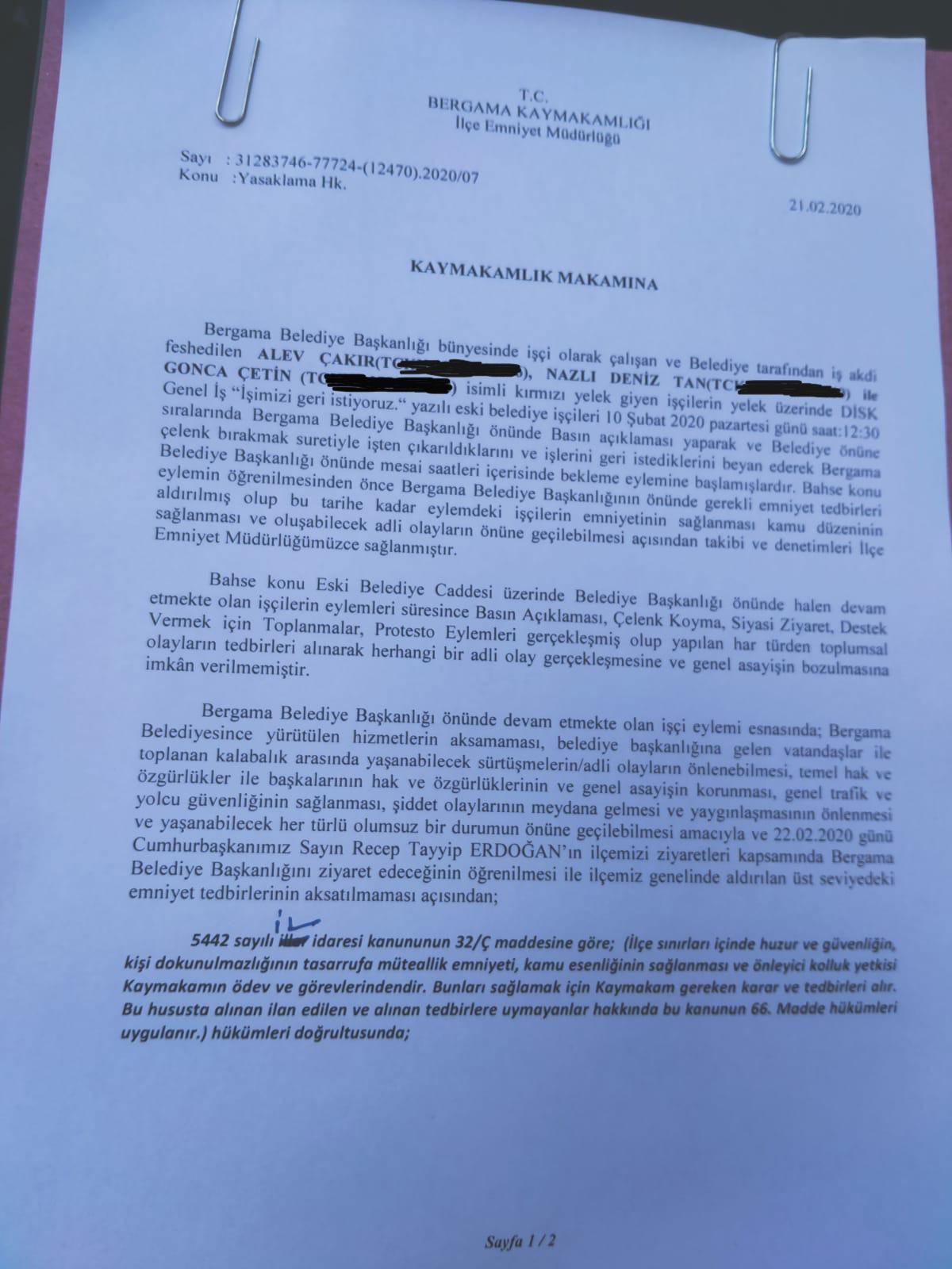 Bergama'da 12 gündür işten atıldıkları için belediye önünde direnen işçilerin eylemlerini yasaklayan kaymakamlık dilekçesi