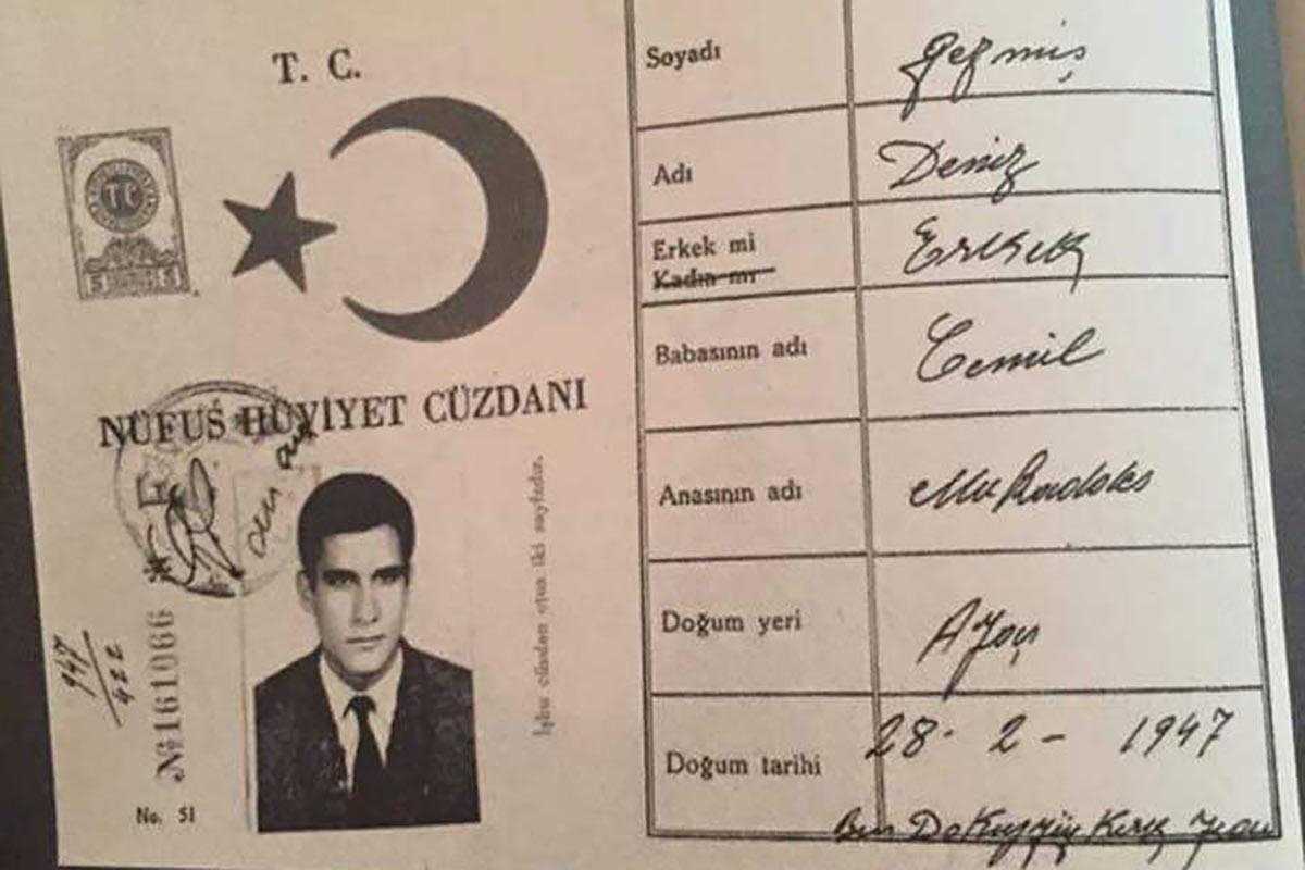 Deniz Gezmiş'in kimlik fotoğrafı