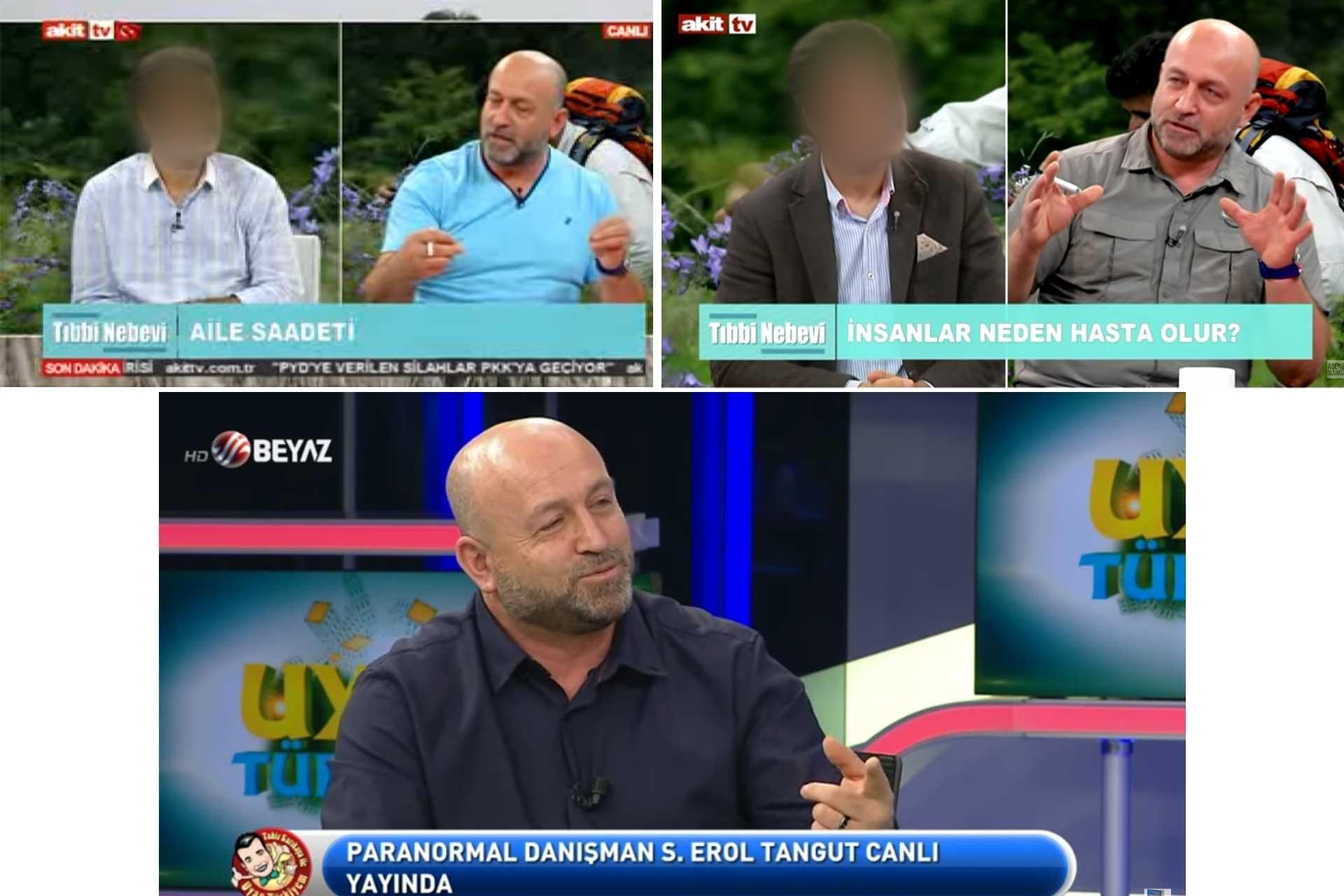 Akit tv ve Beyaz TV'de yayınlanan programlardan ekran görüntüleri.