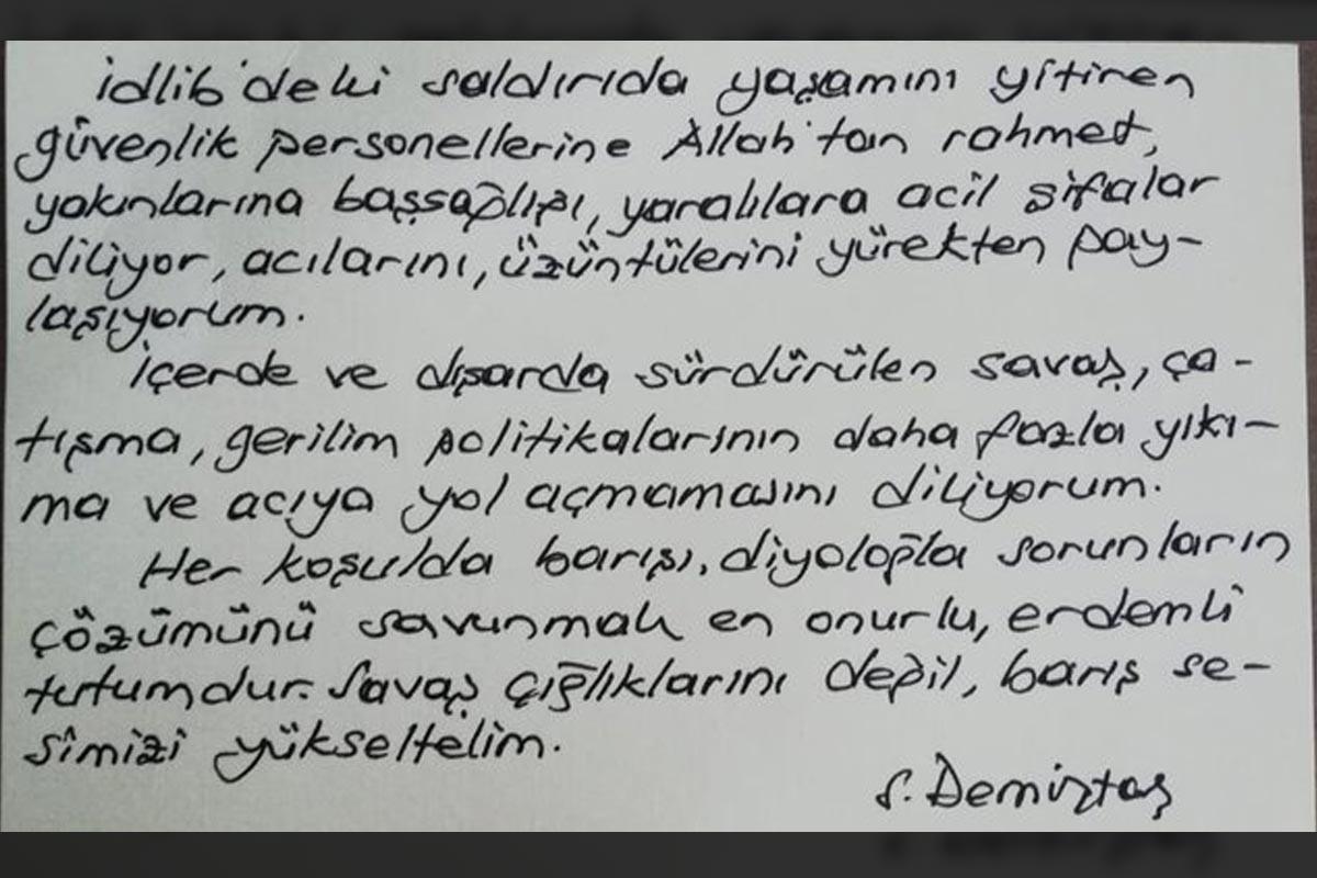 Selahattin Demirtaş'ın el yazısının bulunduğu not kağıdı