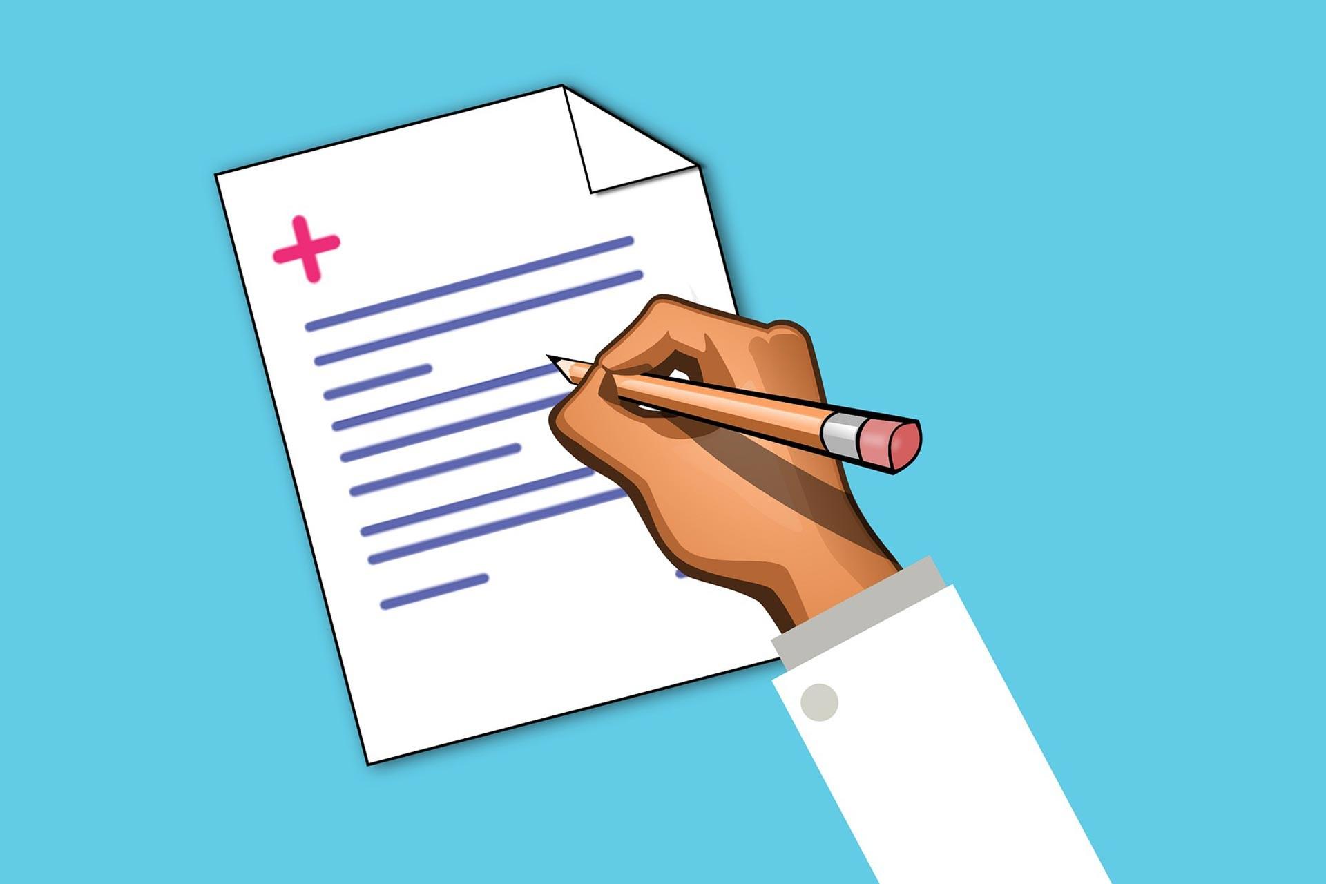 Sağlık raporu yazan hekimin elini gösteren animasyon.