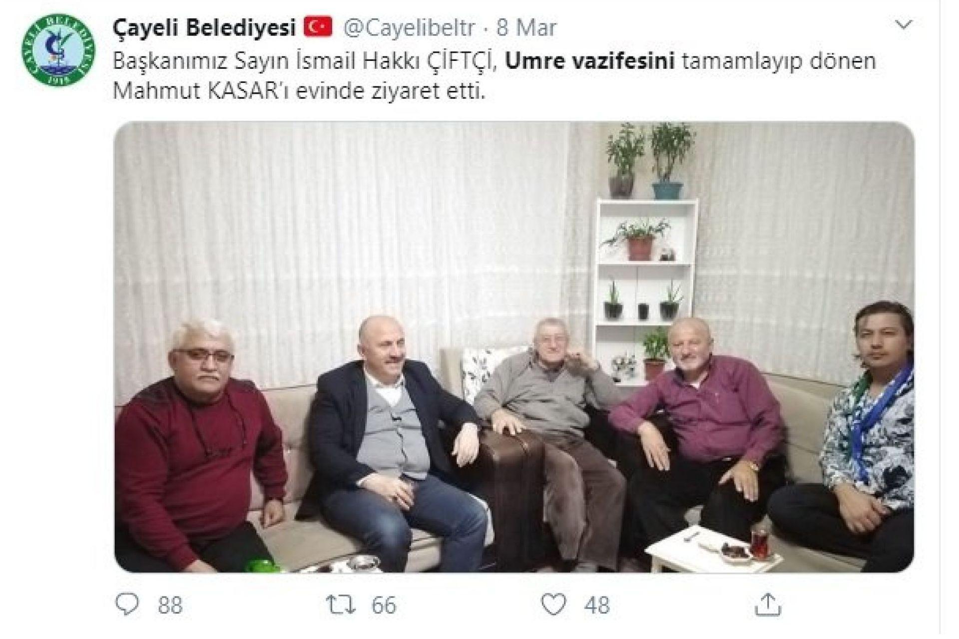 Çayeli Belediyesinin resmi Twitter hesabından paylaşmış olduğu ziyaret fotoğrafı
