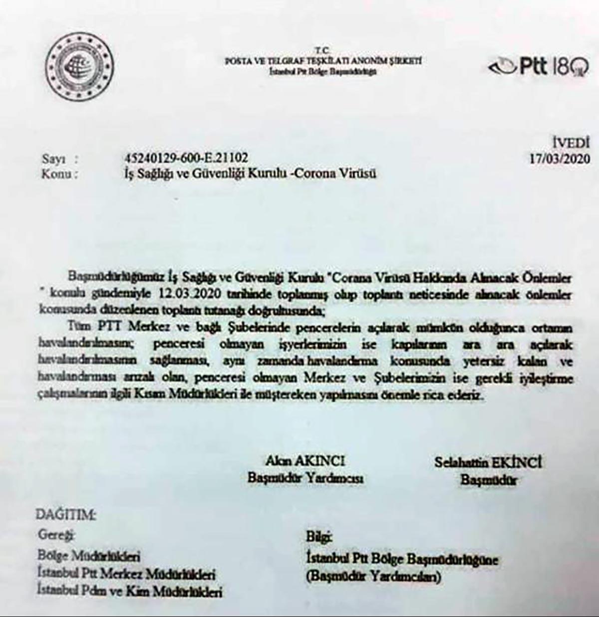 PTT'nin bölge müdürlüklerine gönderdiği yazı
