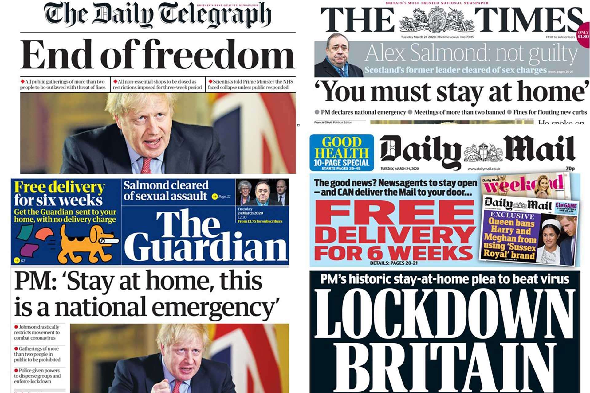 The Daily Telegraph,The Guardian, The Daily Mail ve The Times