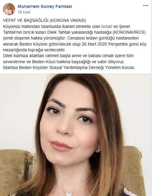 Dilek Tahtalı'nın hayatını kaybetmesi sonrası İstanbul Beden Köylüler Sosyal Yardımlaşma Derneğinin Facebook'tan yaptığı paylaşım.