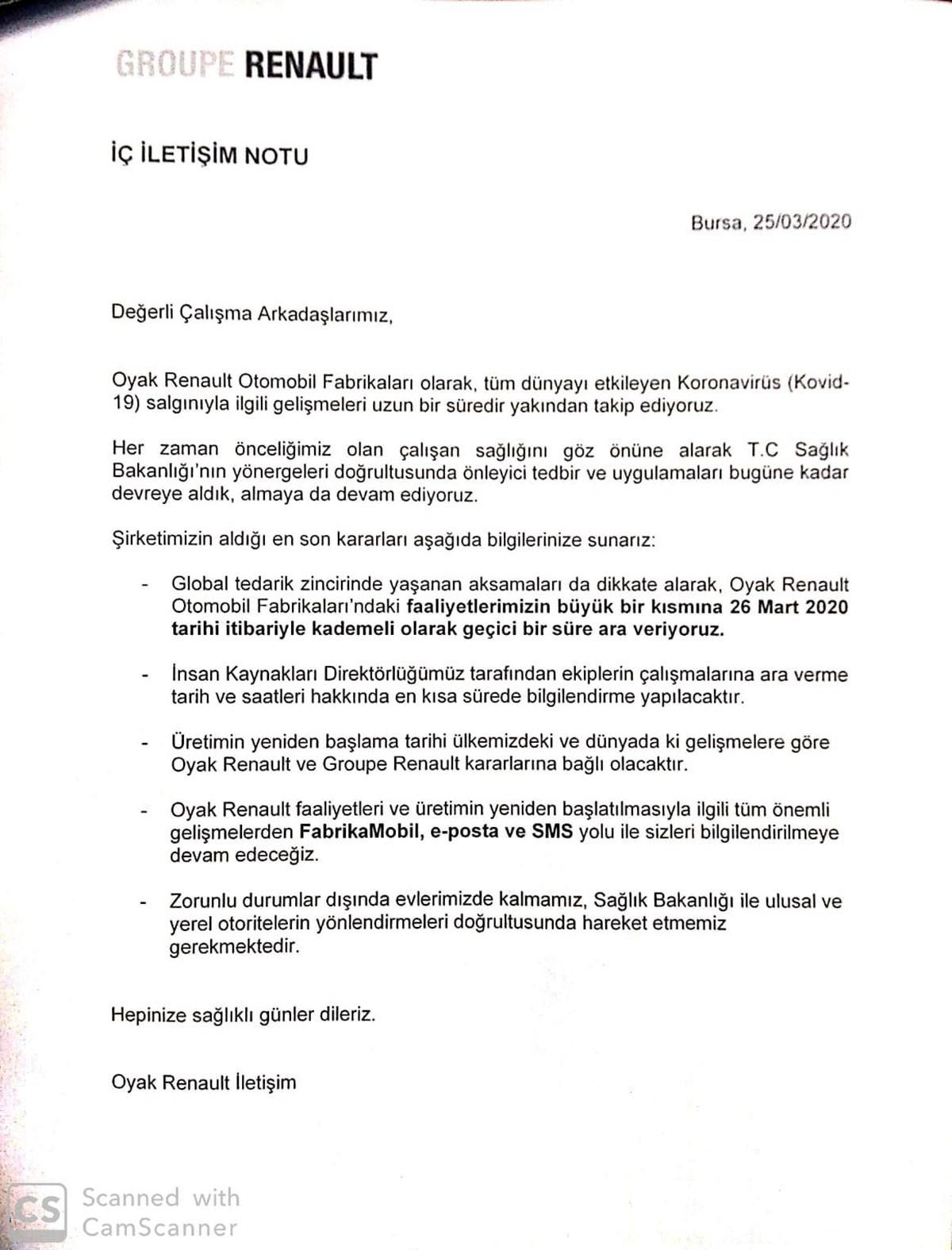 Renault açıklaması