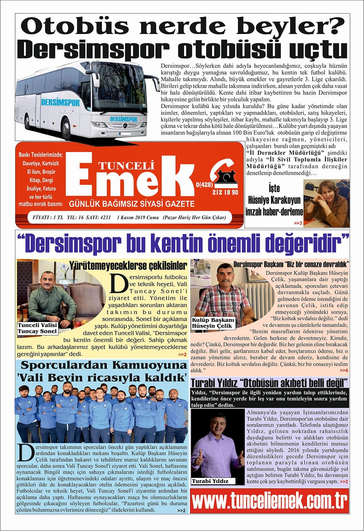 Tunceli Emek gazetesi nüshası